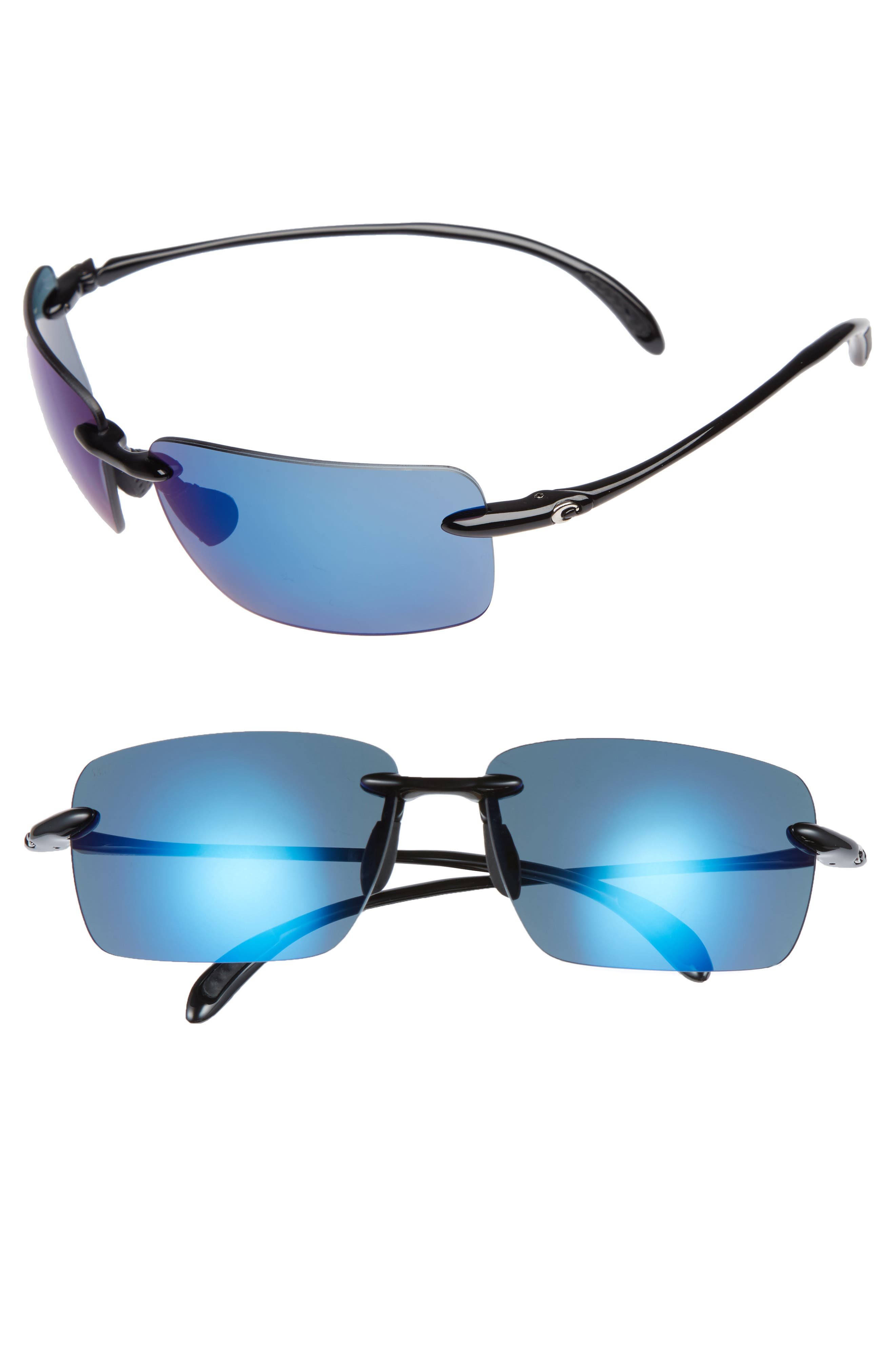 Gulfshore XL 66mm Polarized Sunglasses,                         Main,                         color, BLACK/ BLUE MIRROR