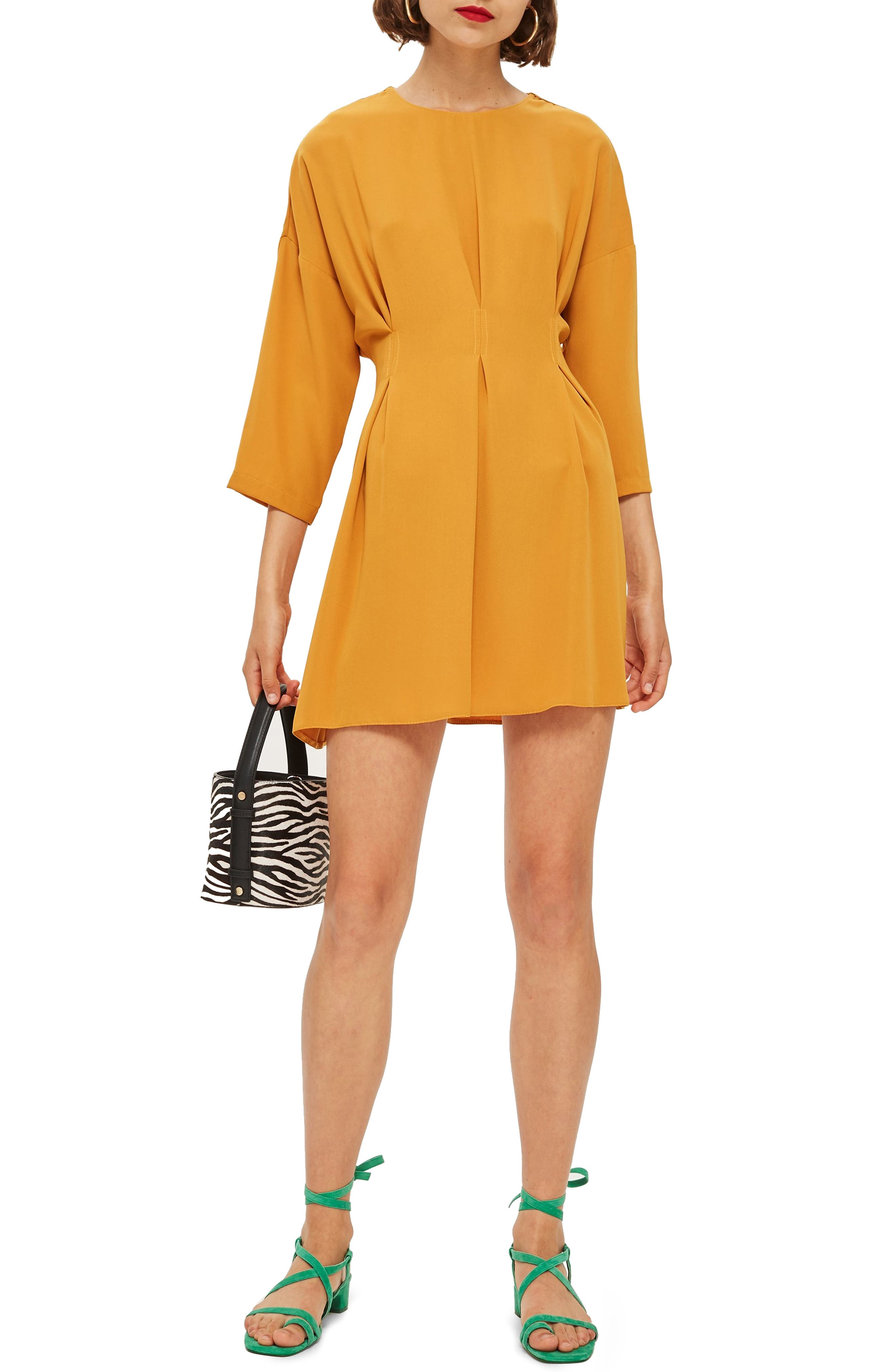 Tuck Minidress,                         Main,                         color, MUSTARD
