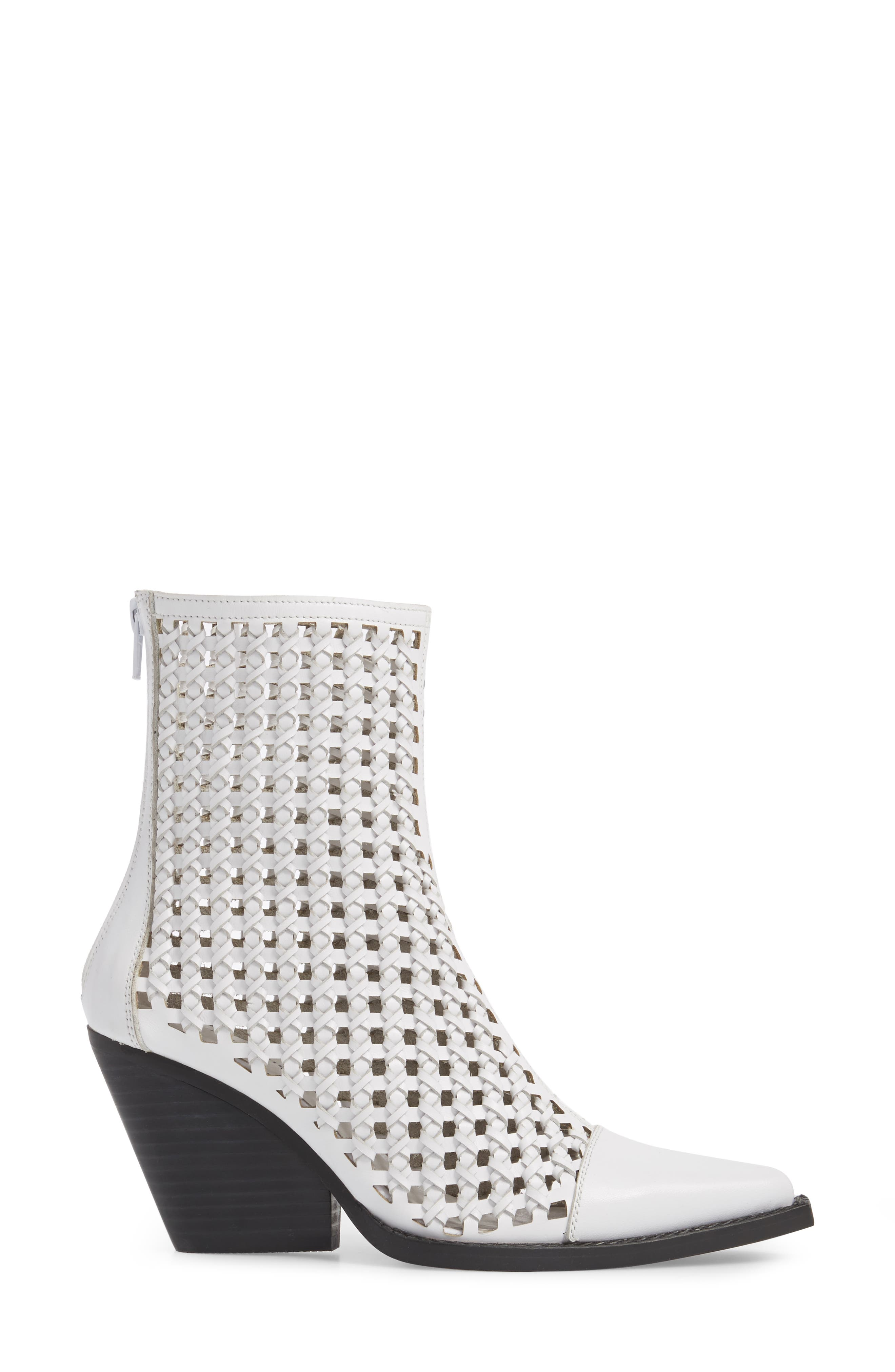 Waven Woven Bootie,                             Alternate thumbnail 3, color,                             WHITE LEATHER