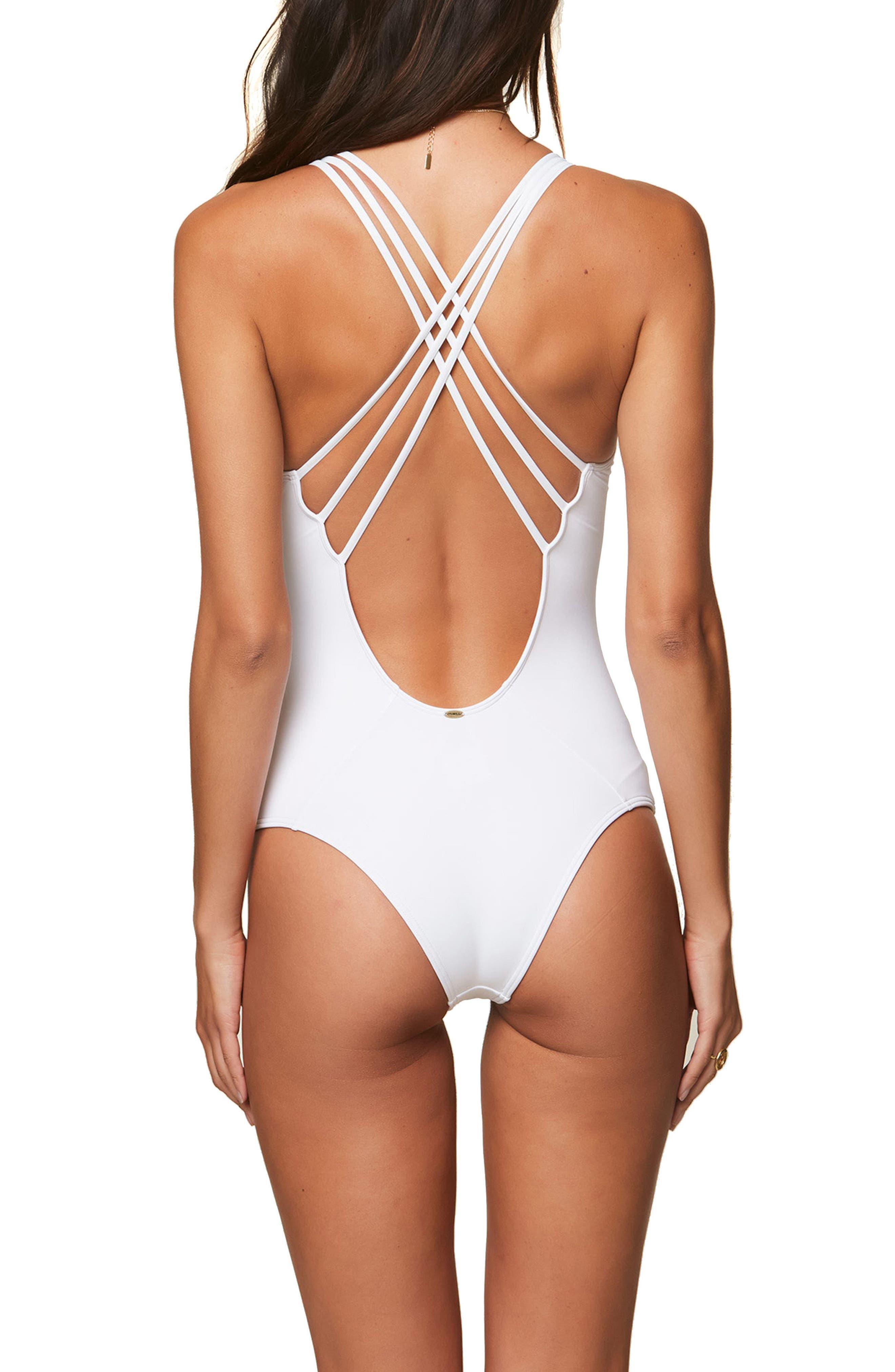 Salt Water One-Piece Swimsuit,                             Alternate thumbnail 2, color,                             WHITE