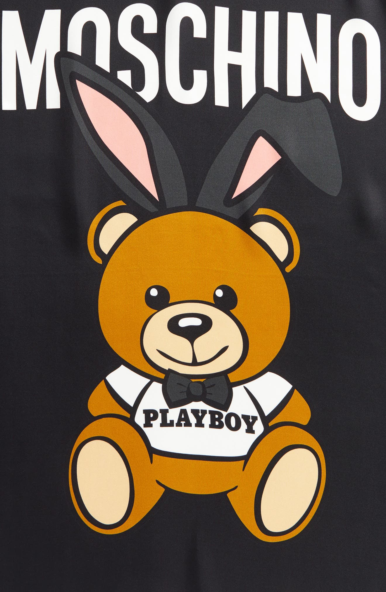 Playboy Bear Silk Scarf,                             Alternate thumbnail 4, color,                             001