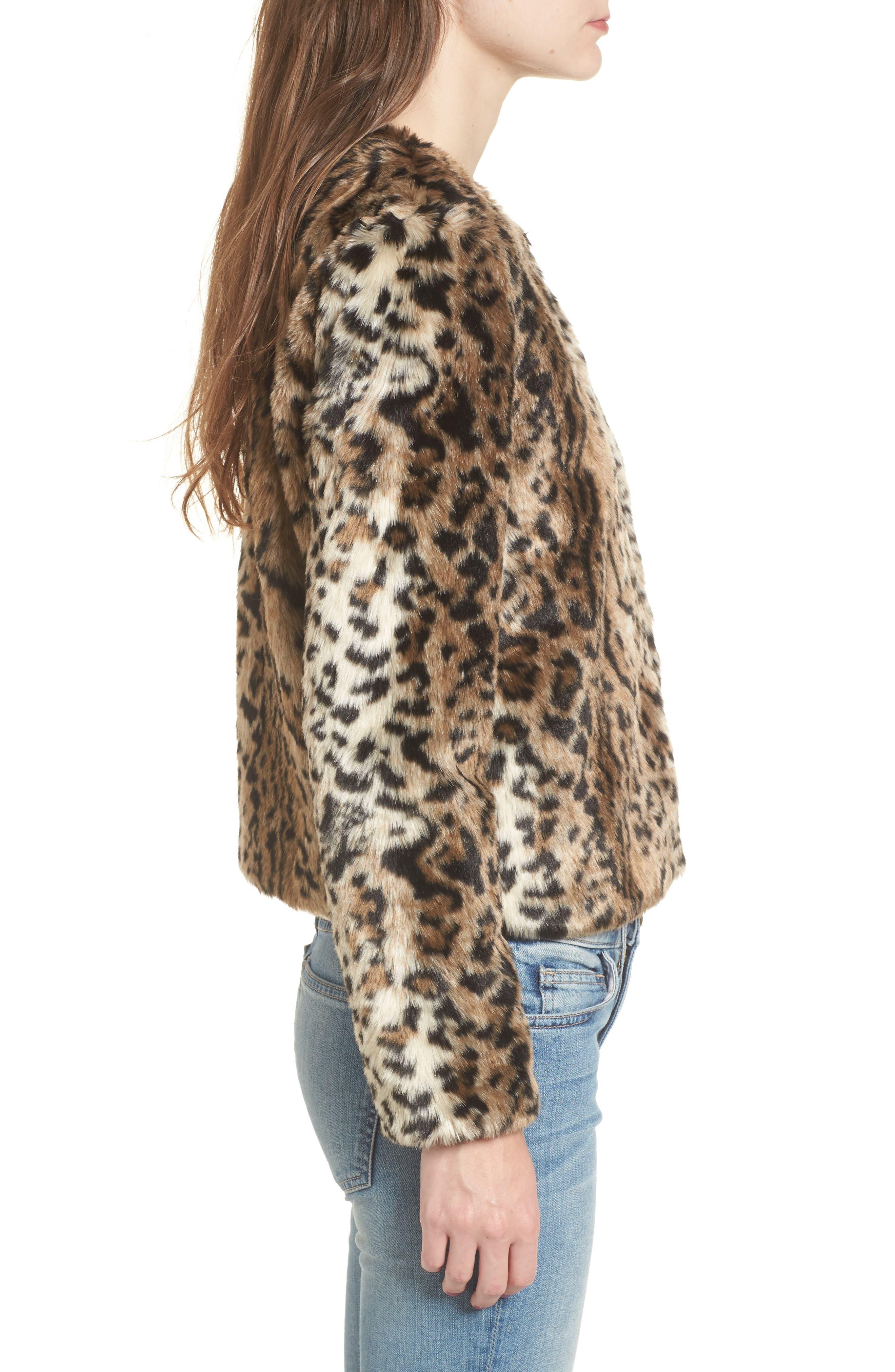 McKinley Leopard Print Faux Fur Jacket,                             Alternate thumbnail 3, color,                             238