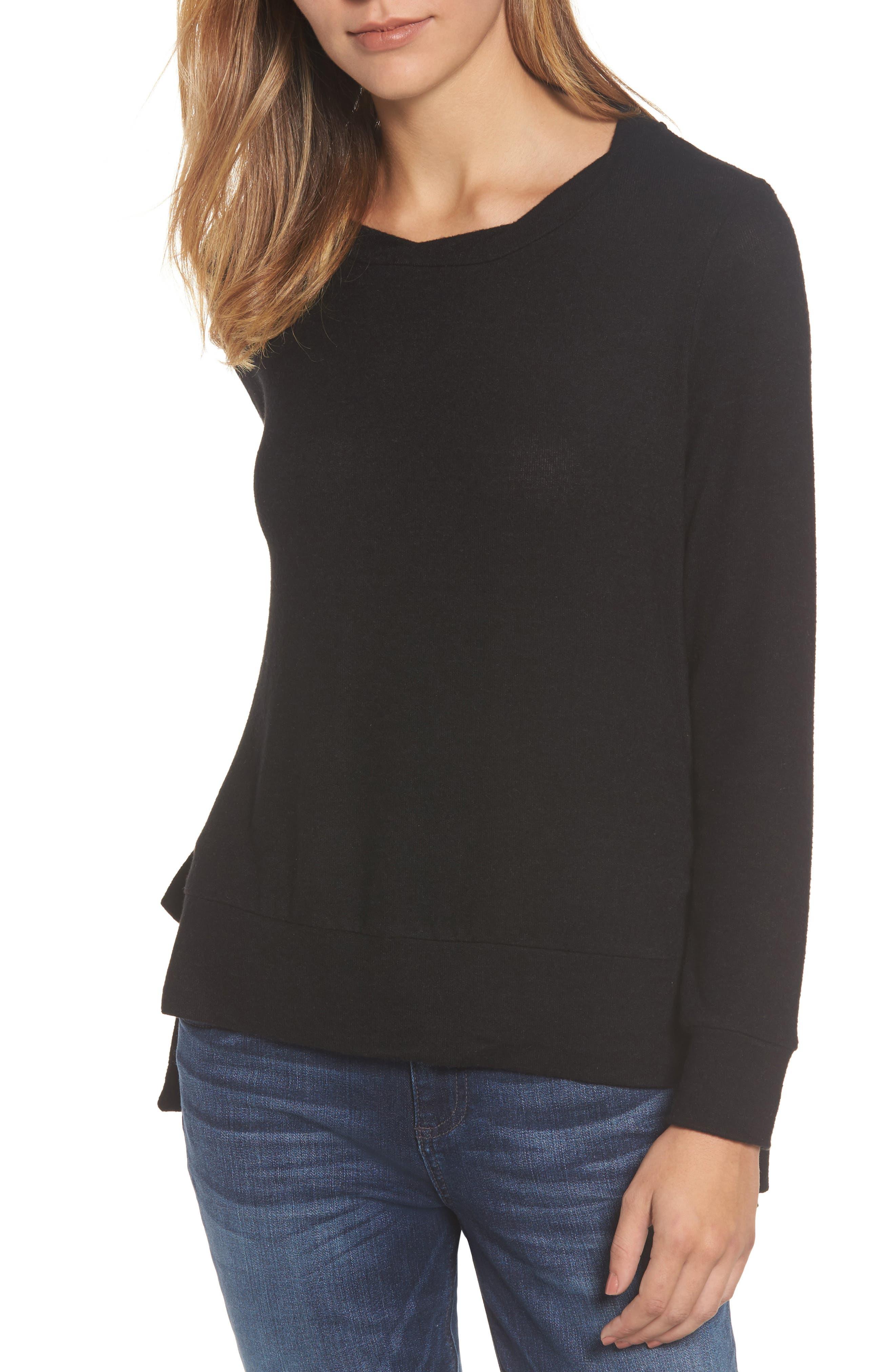 Side-Tie Fleece Pullover,                             Main thumbnail 1, color,                             001