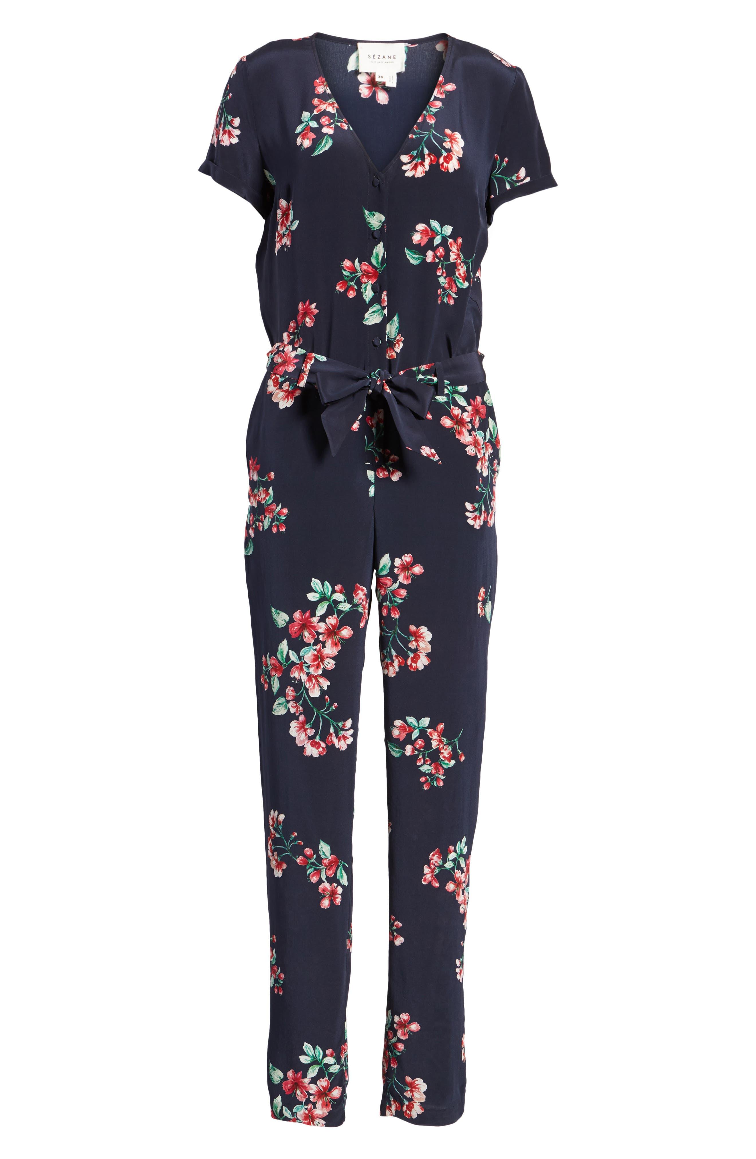 Ava Floral Silk Jumpsuit,                             Alternate thumbnail 6, color,                             400
