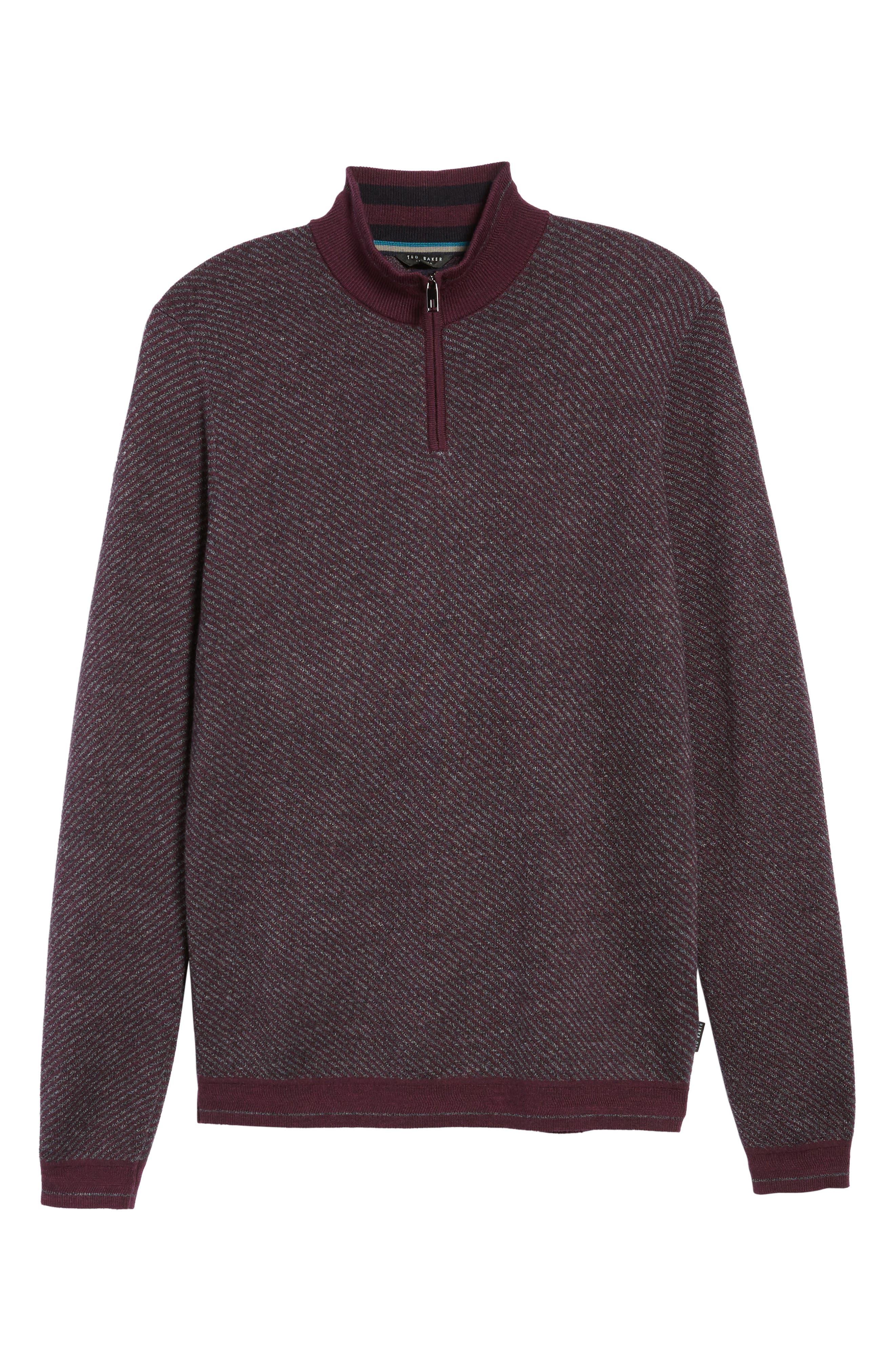 Stripe Quarter Zip Sweater,                             Alternate thumbnail 12, color,
