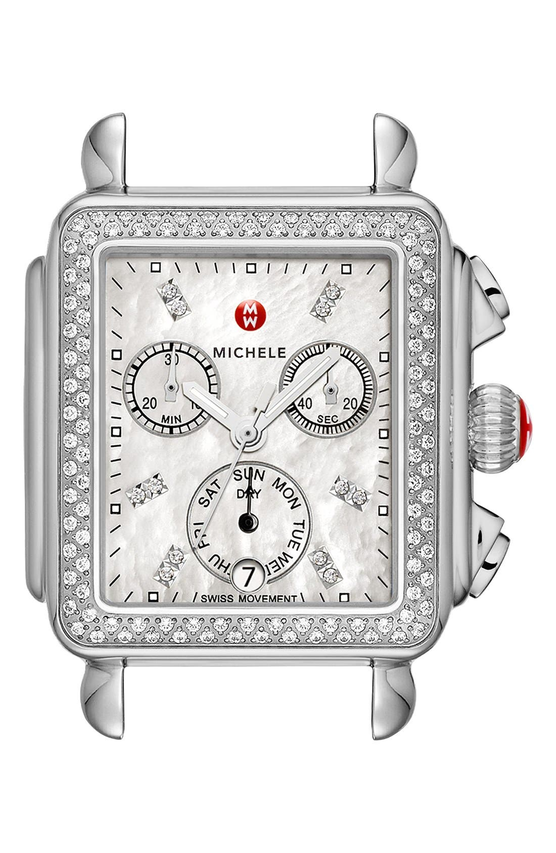 MICHELE,                             Deco Diamond Diamond Dial Watch Head, 33mm x 35mm,                             Main thumbnail 1, color,                             SILVER
