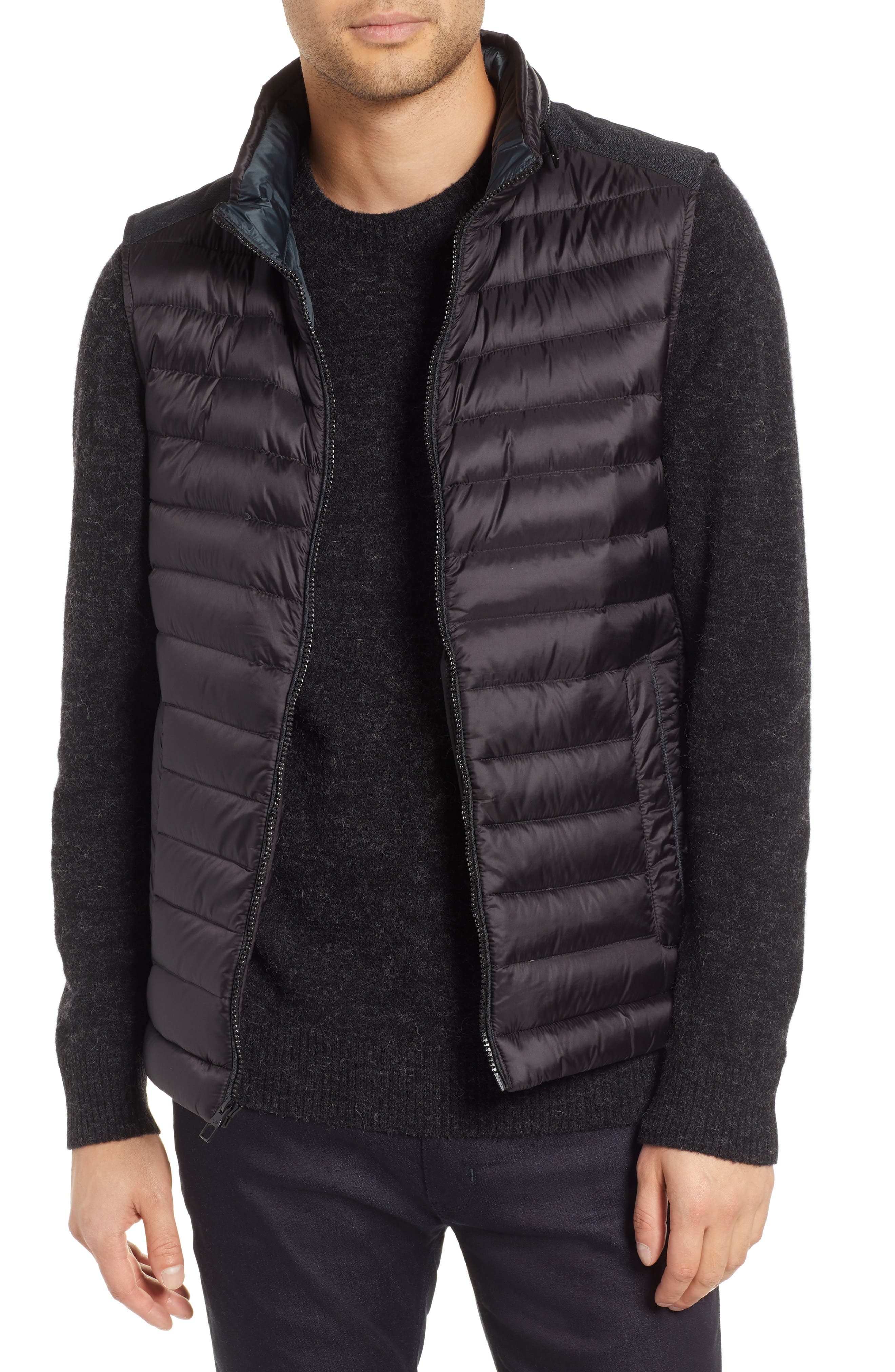 Down Puffer Hooded Vest,                         Main,                         color, BLACK