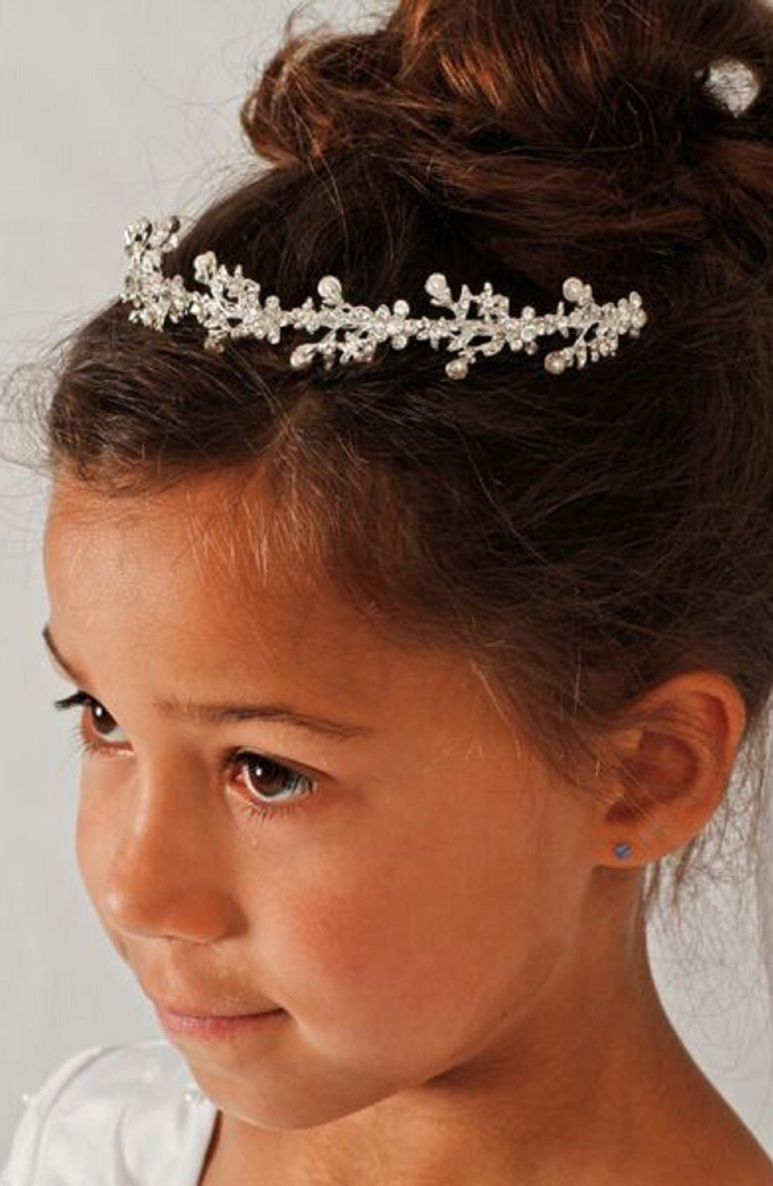 Crown & Removable Veil,                         Main,                         color, WHITE