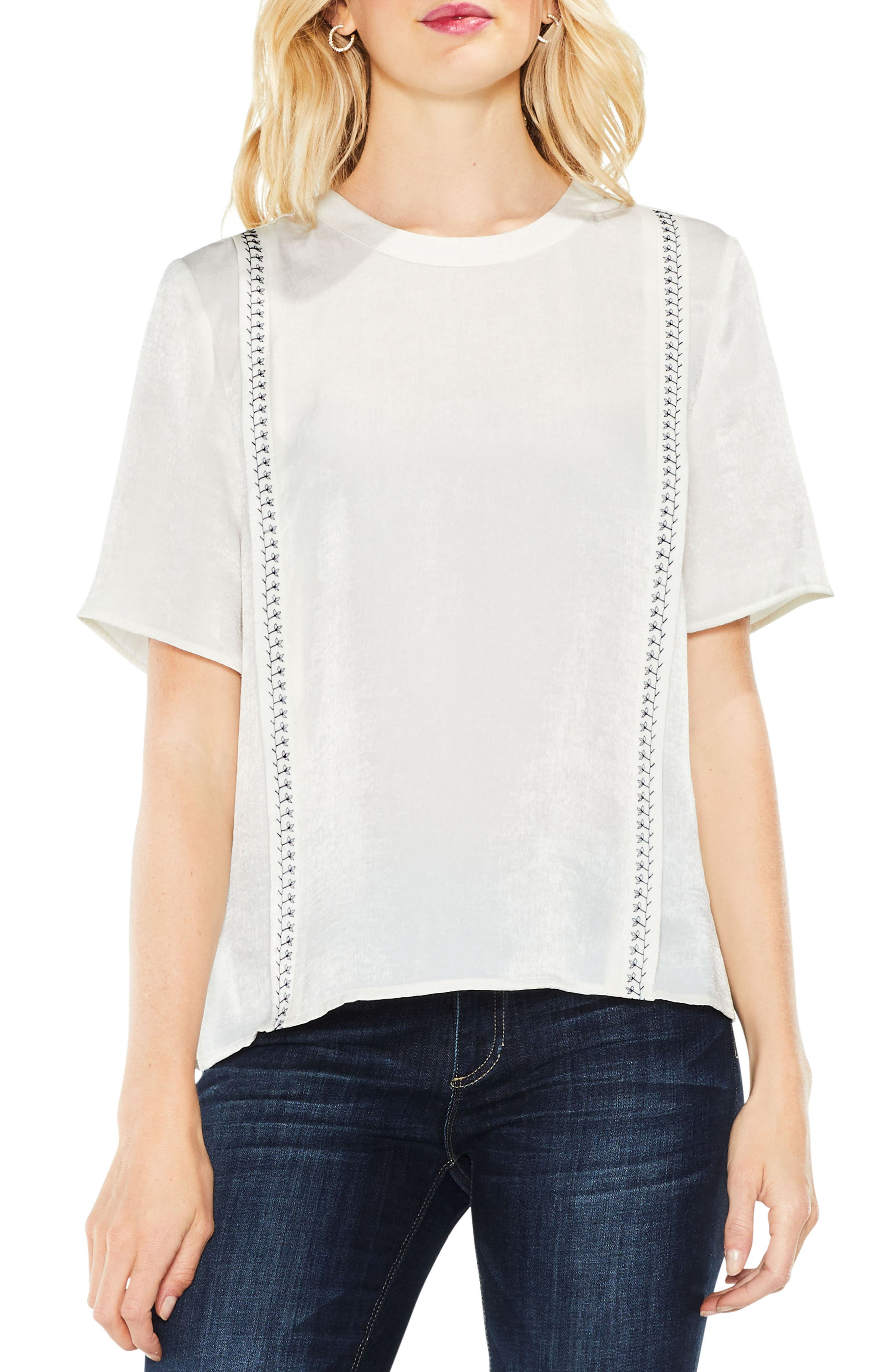Satin Rumple Embroidered Top,                             Main thumbnail 1, color,