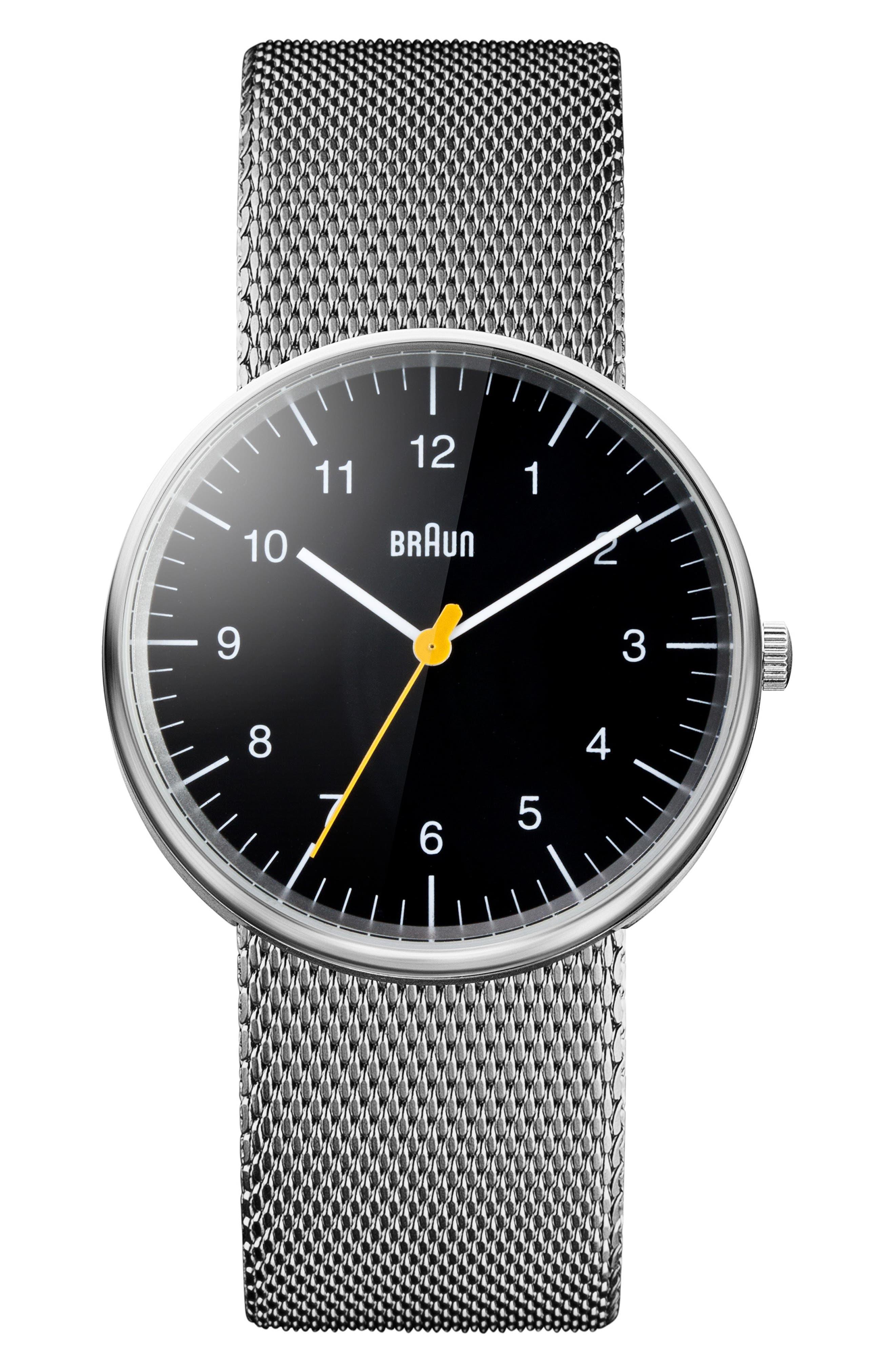 BRAUN Classic Mesh Bracelet Watch, 38Mm in Silver/ Black/ Silver