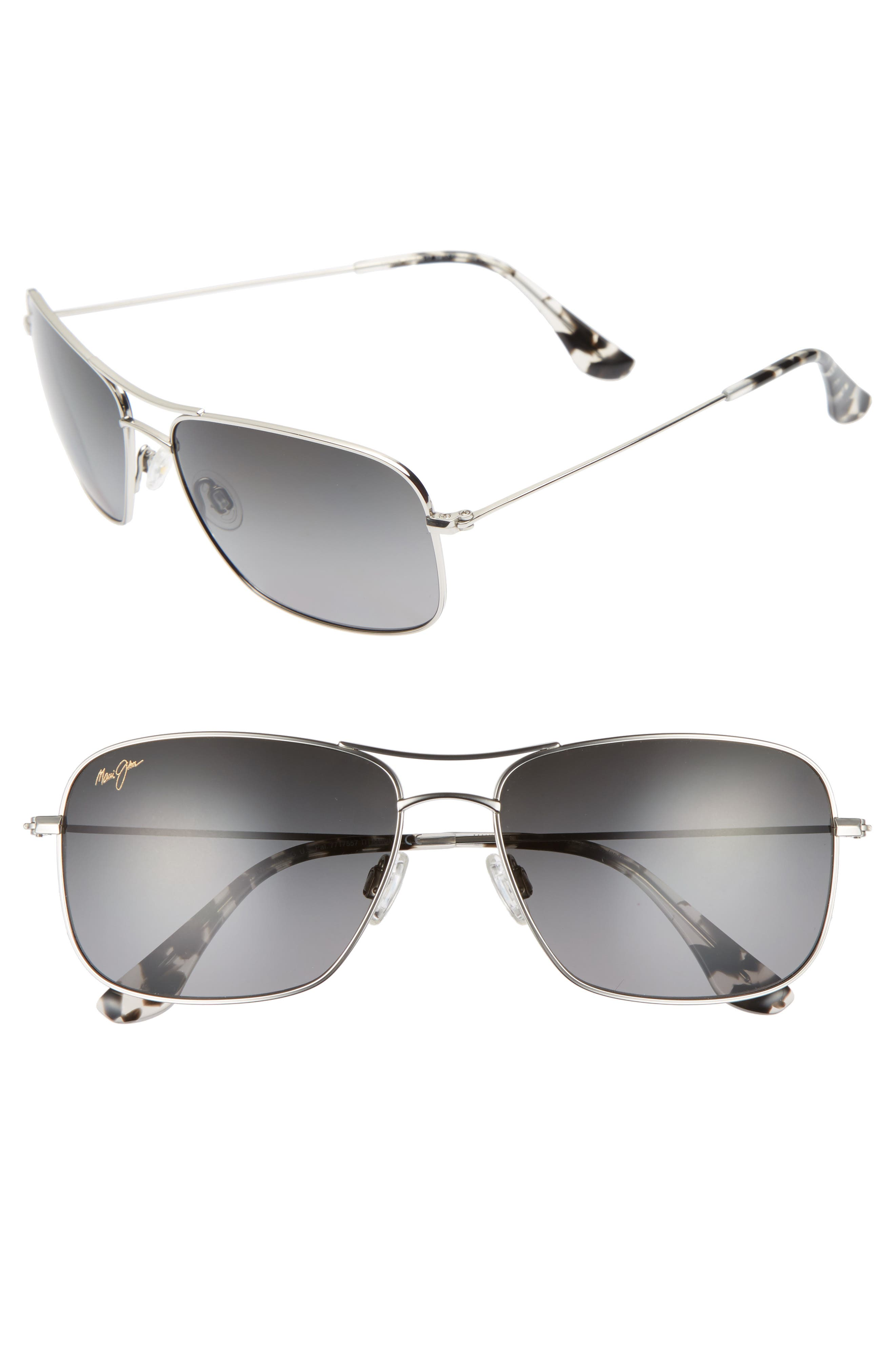 Wiki Wiki 59mm PolarizedPlus2<sup>®</sup> Aviator Sunglasses,                             Alternate thumbnail 2, color,                             SILVER/ NEUTRAL GREY