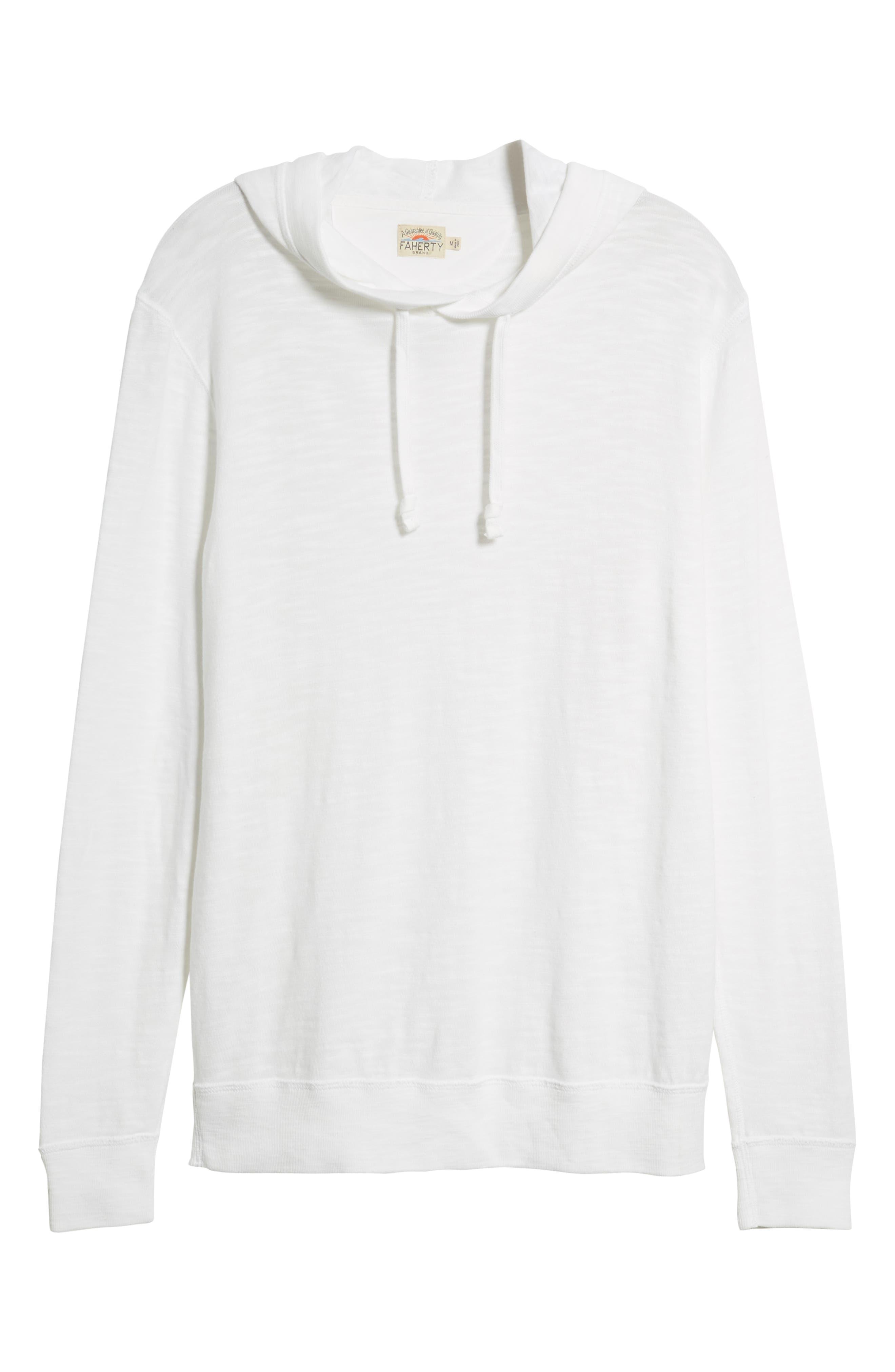 Slubbed Cotton Hooded Pullover,                             Alternate thumbnail 5, color,                             WHITE
