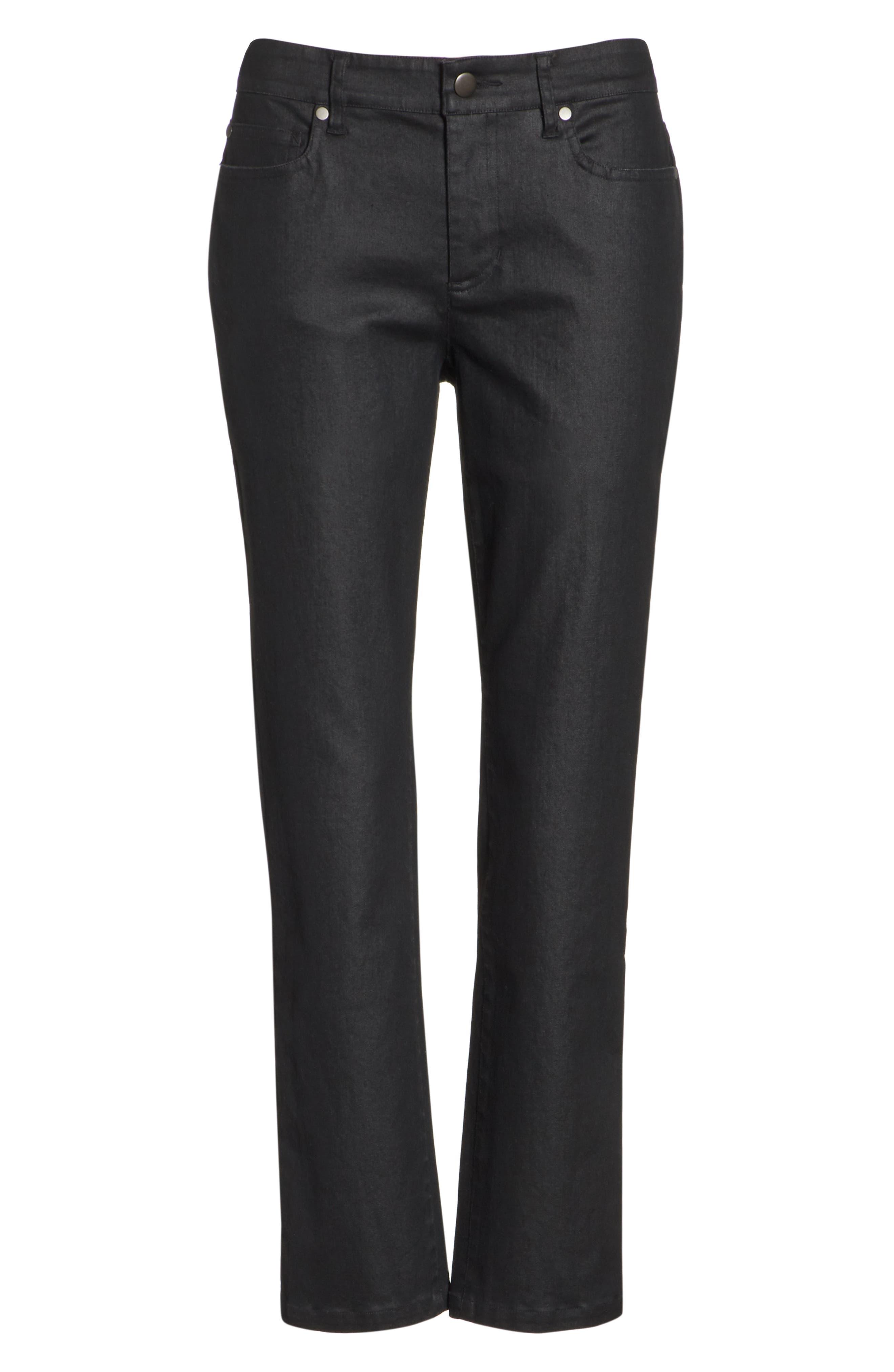 Slim Ankle Jeans,                             Alternate thumbnail 7, color,                             BLACK