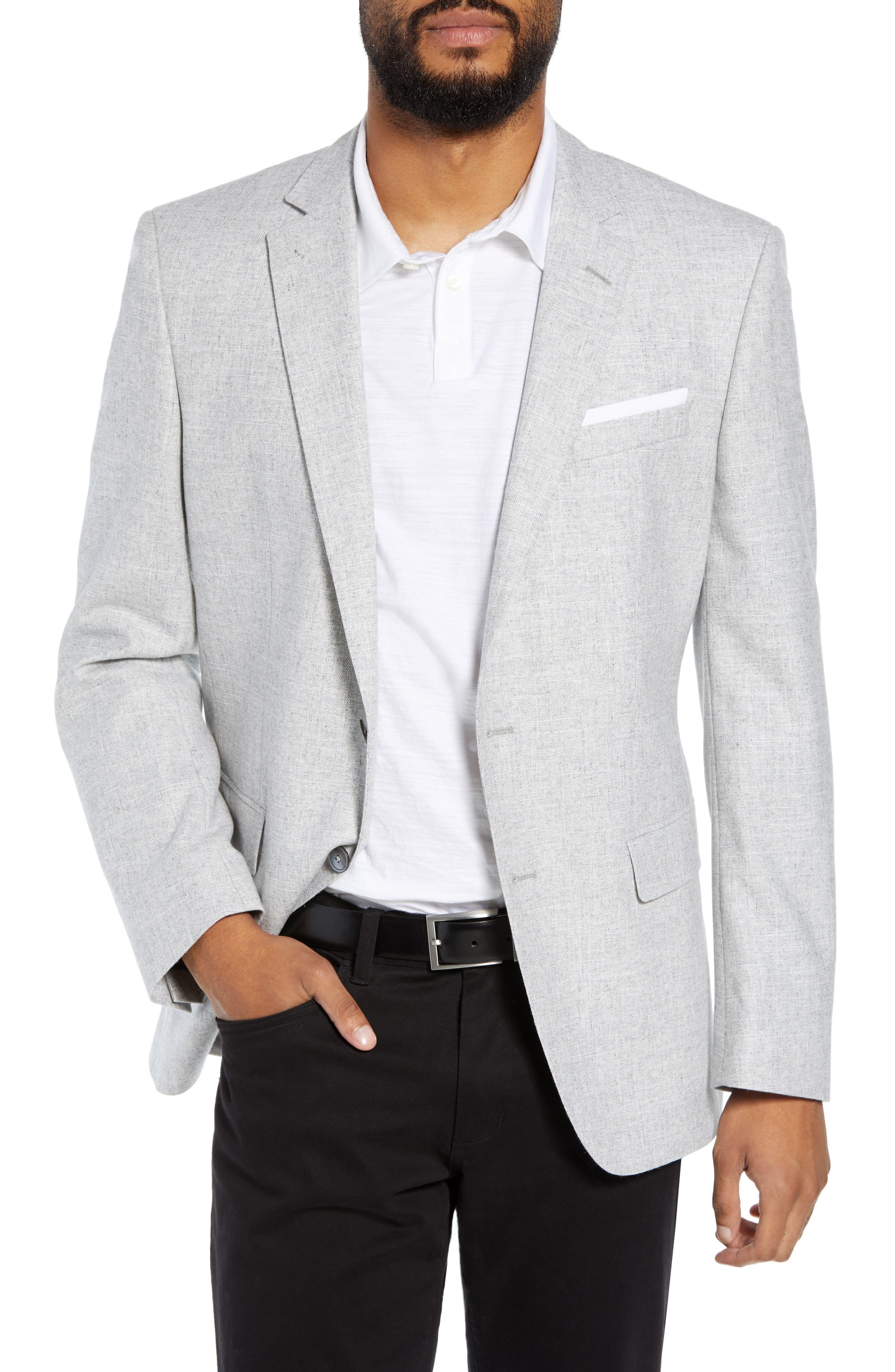 Hutsons Trim Fit Wool Blend Blazer,                         Main,                         color, SILVER