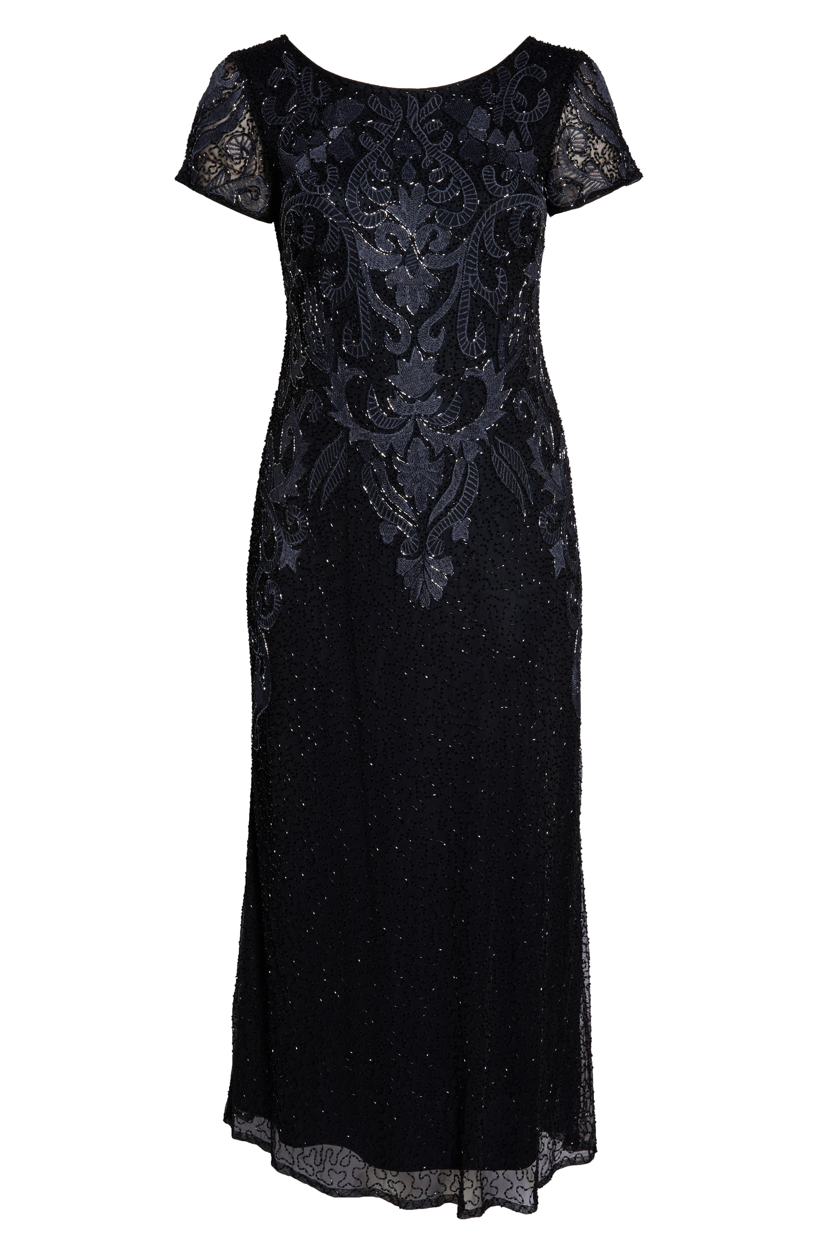 PISARRO NIGHTS,                             Embroidered Mesh Gown,                             Alternate thumbnail 13, color,                             001
