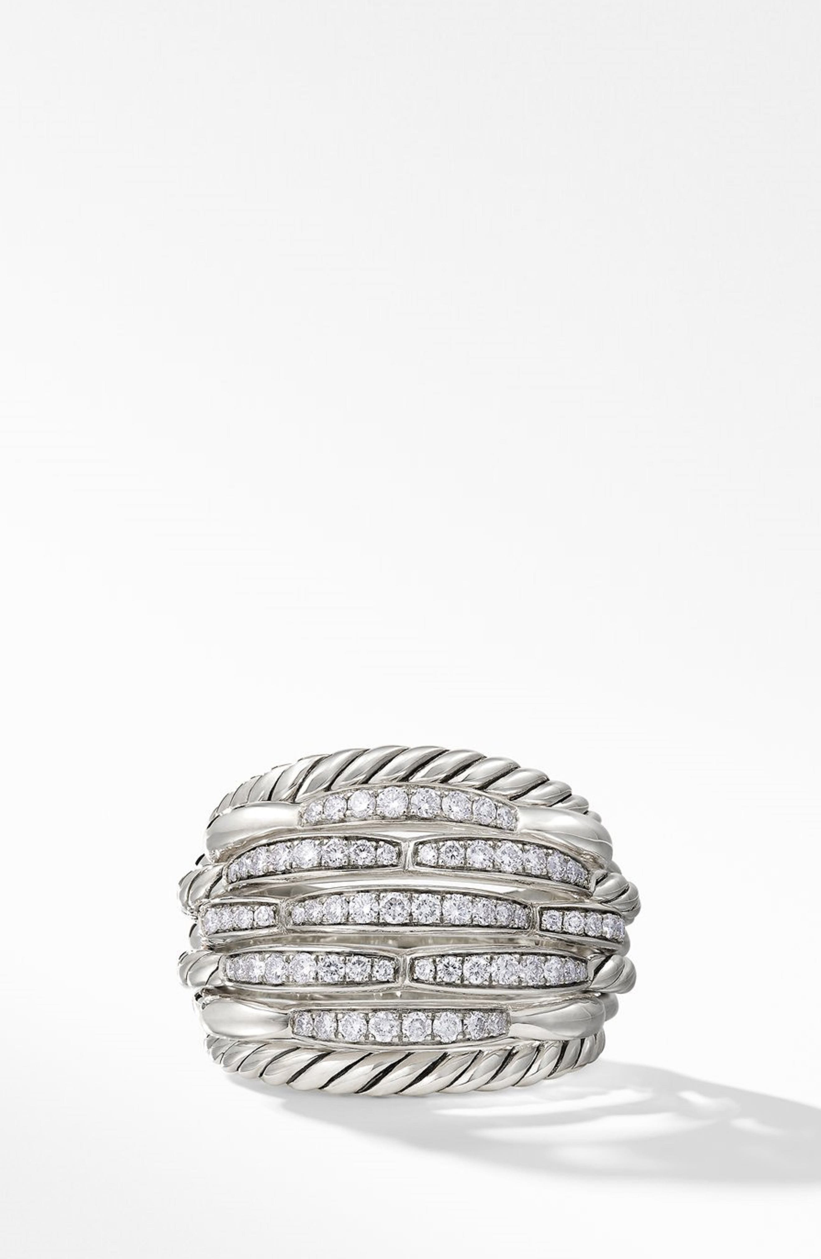 Tides 20mm Dome Ring with Diamonds,                             Alternate thumbnail 3, color,                             STERLING SILVER/ DIAMOND