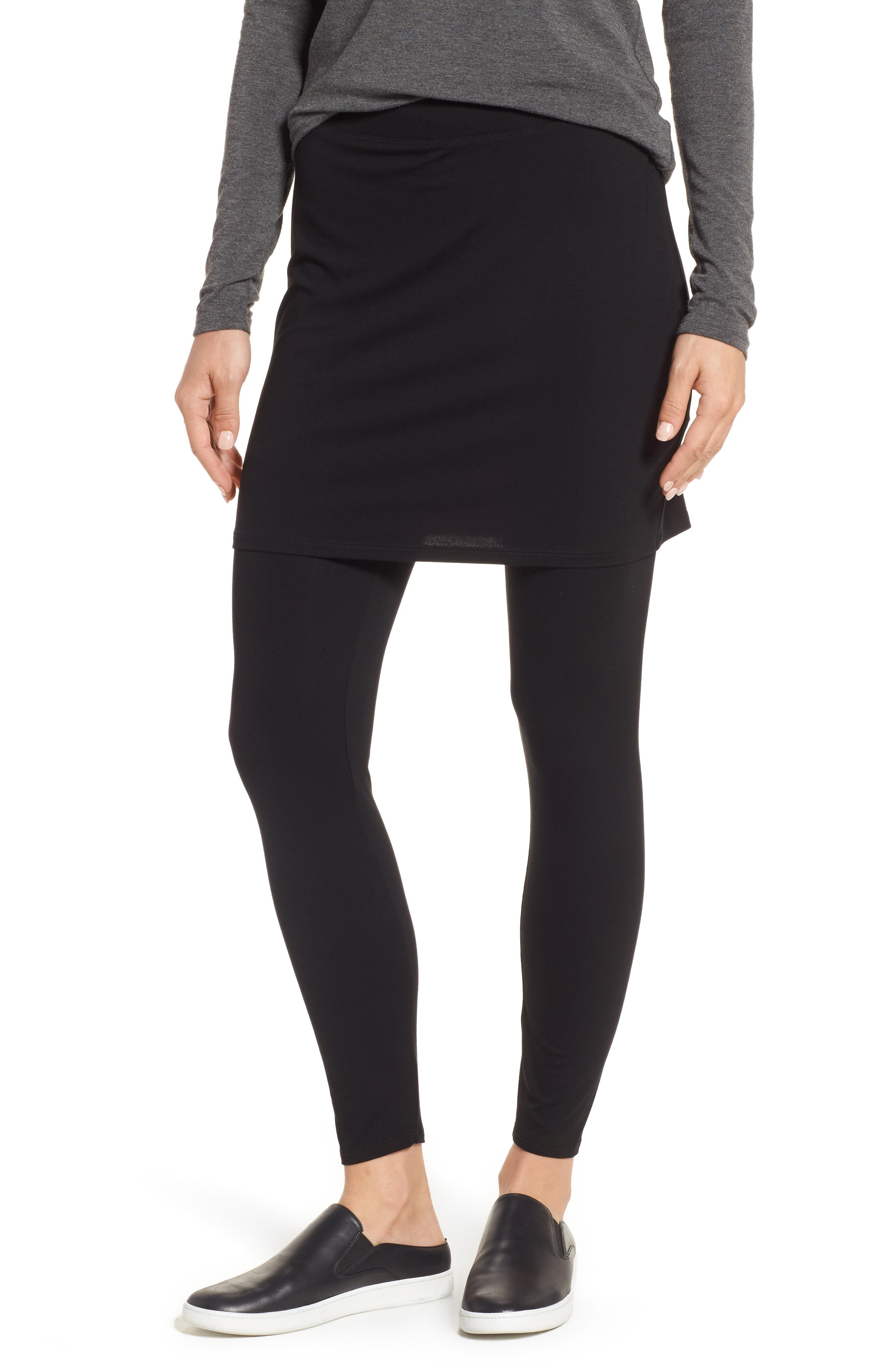 Skirted Ankle Leggings,                             Alternate thumbnail 2, color,                             BLACK