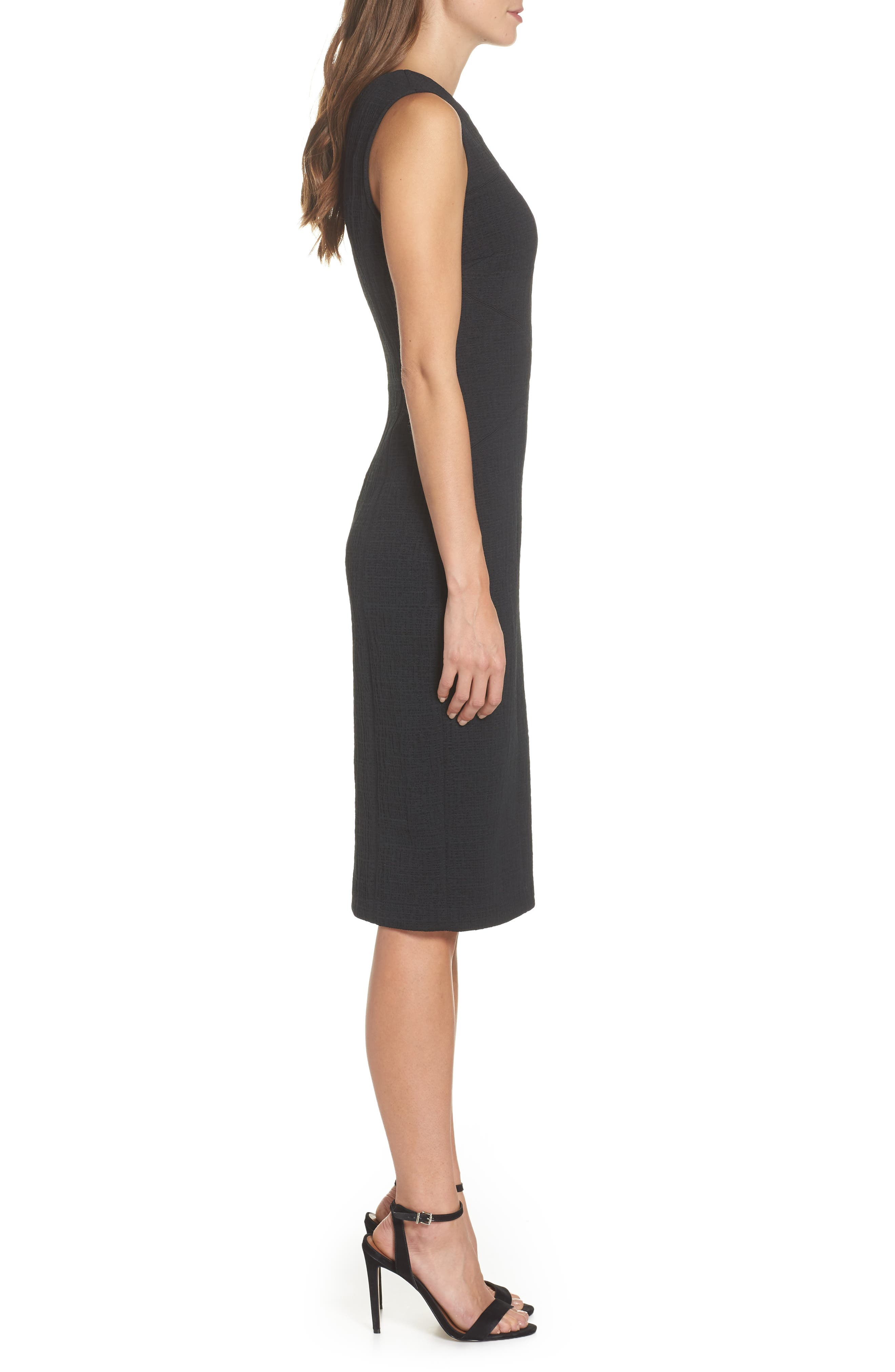 Forest Lily Jacquard Sheath Dress,                             Alternate thumbnail 3, color,                             BLACK