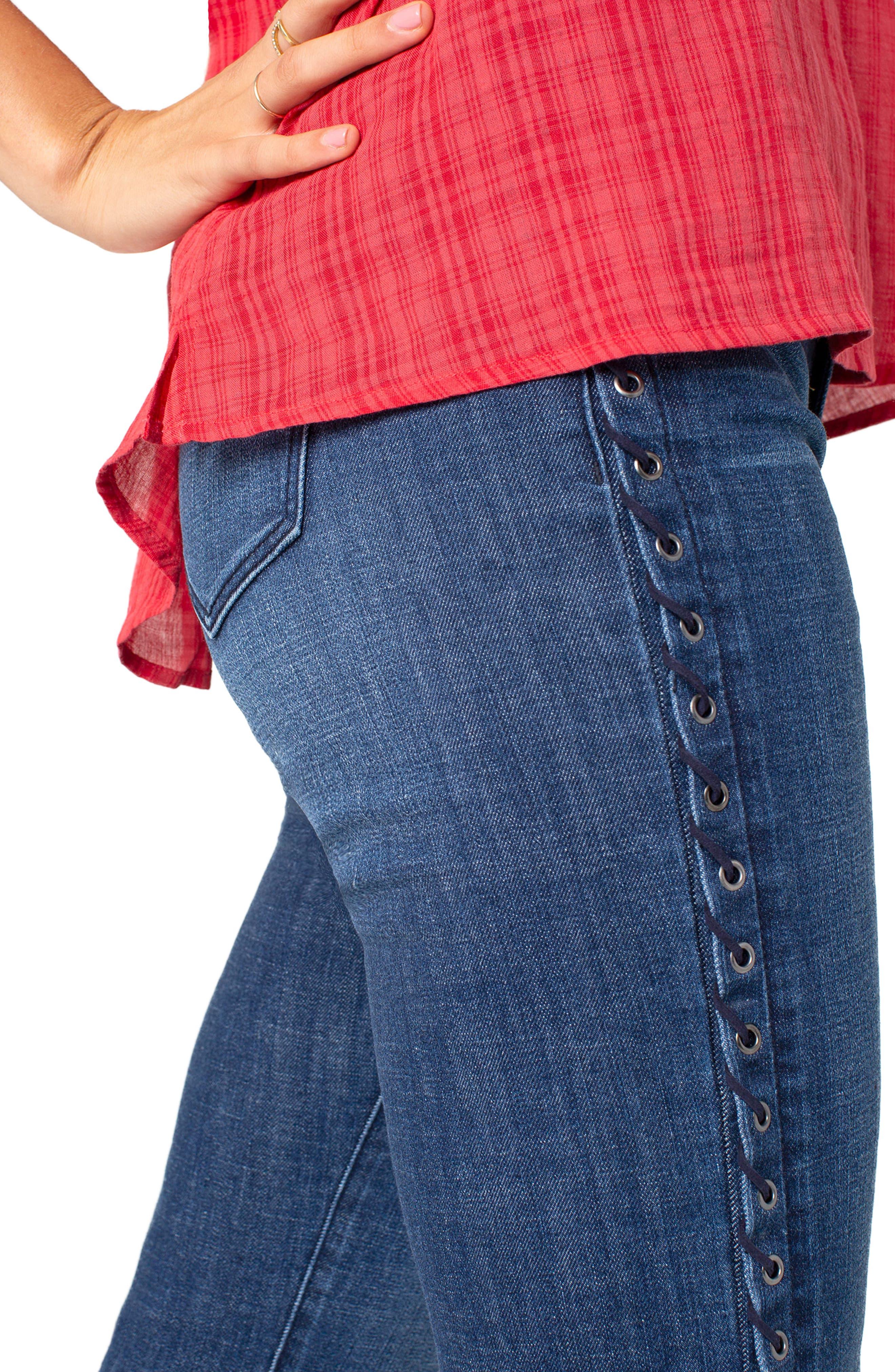LIVERPOOL,                             Sadie Grommet High Waist Crop Straight Leg Jeans,                             Alternate thumbnail 4, color,                             MONTAUK MID BLUE