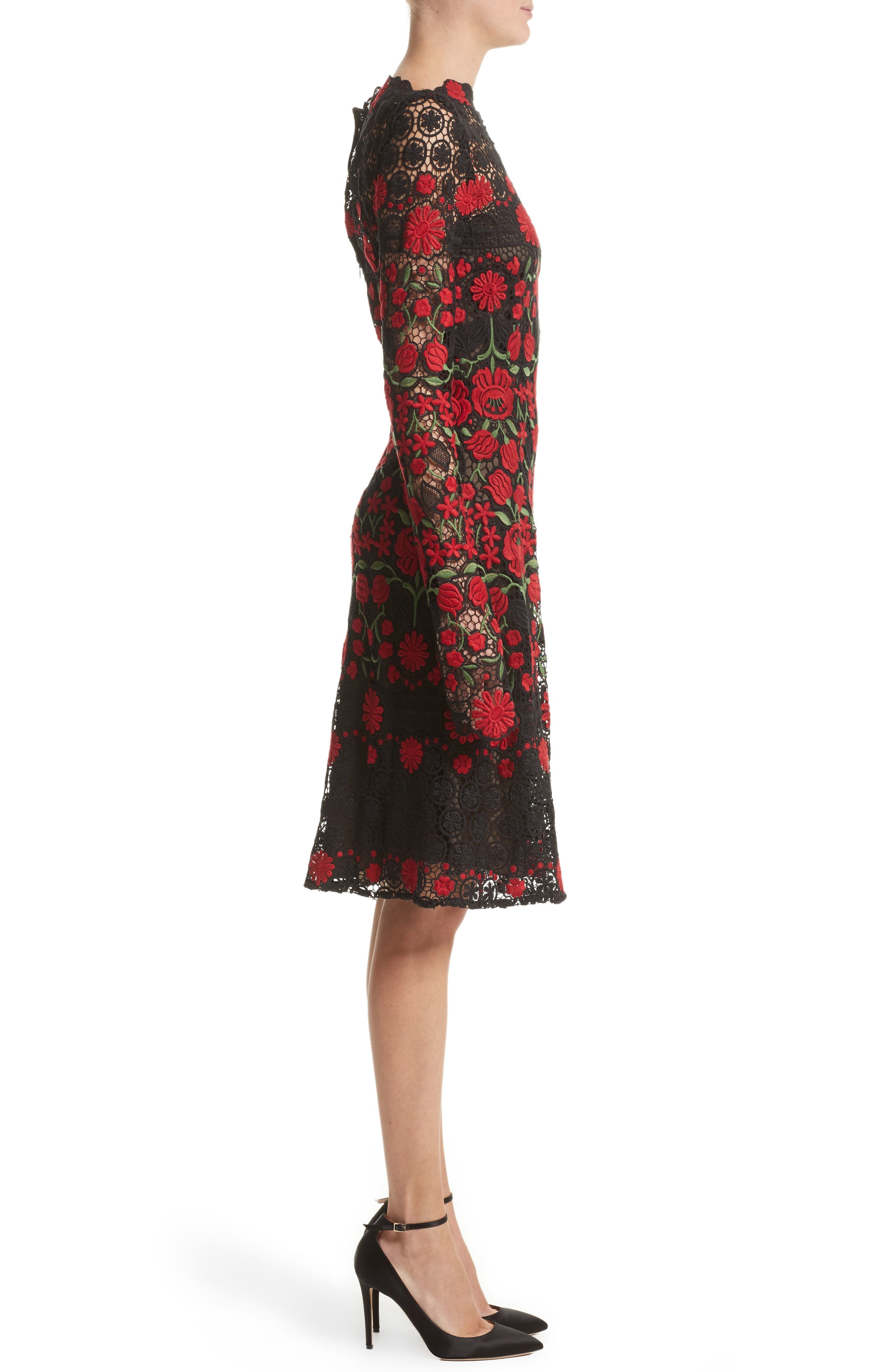 Floral Embroidered Elongated Sleeve Dress,                             Alternate thumbnail 3, color,                             611