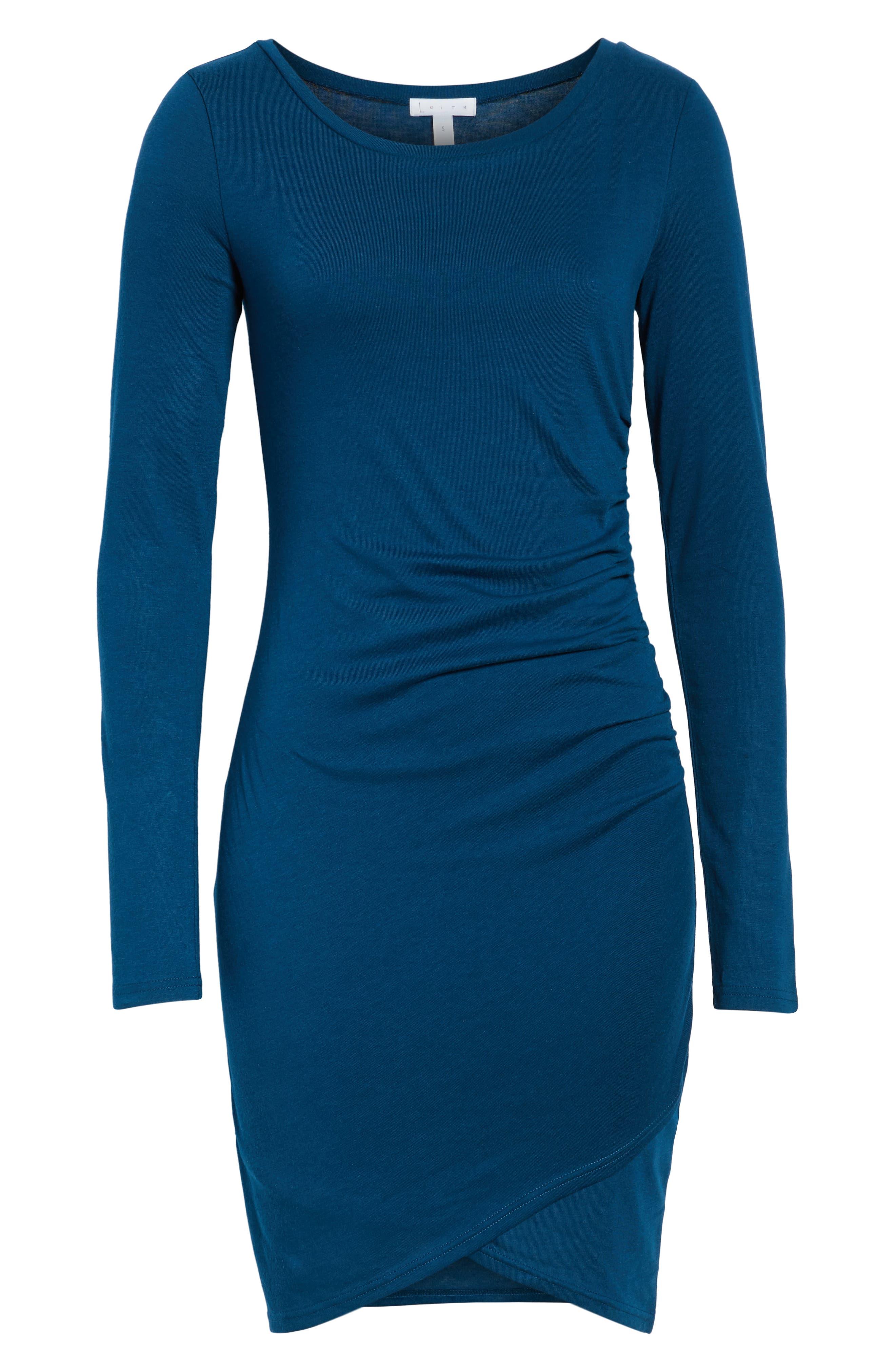 Ruched Long Sleeve Dress,                             Alternate thumbnail 7, color,                             BLUE AURORA