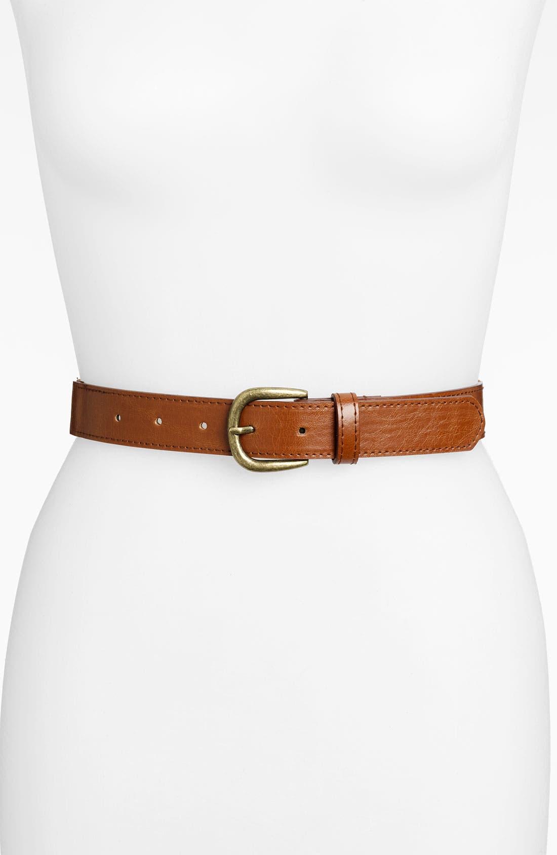 Faux Leather Stretch Belt,                             Main thumbnail 1, color,                             200