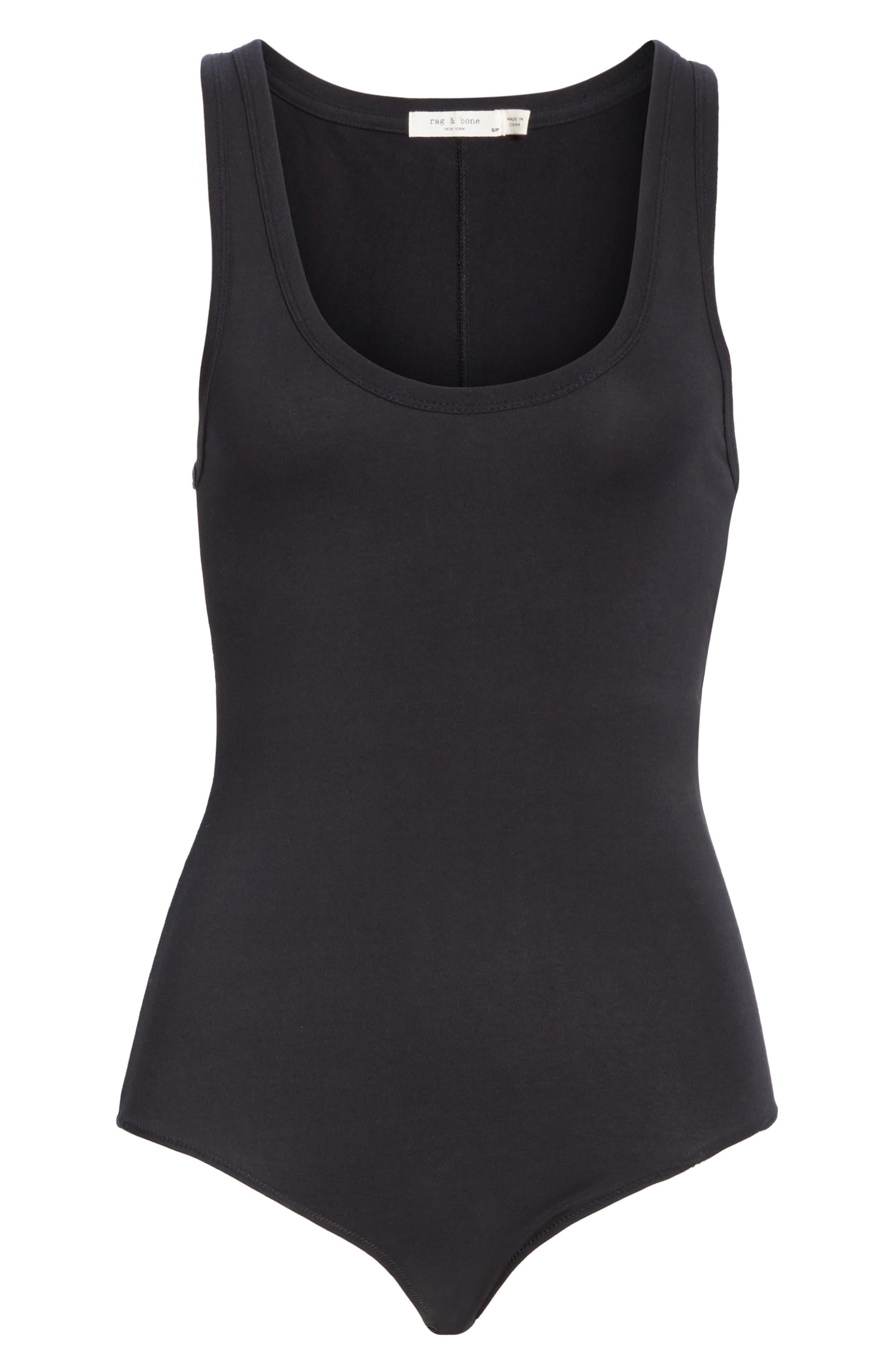 The Tank Stretch Cotton Bodysuit,                             Alternate thumbnail 6, color,                             BLACK