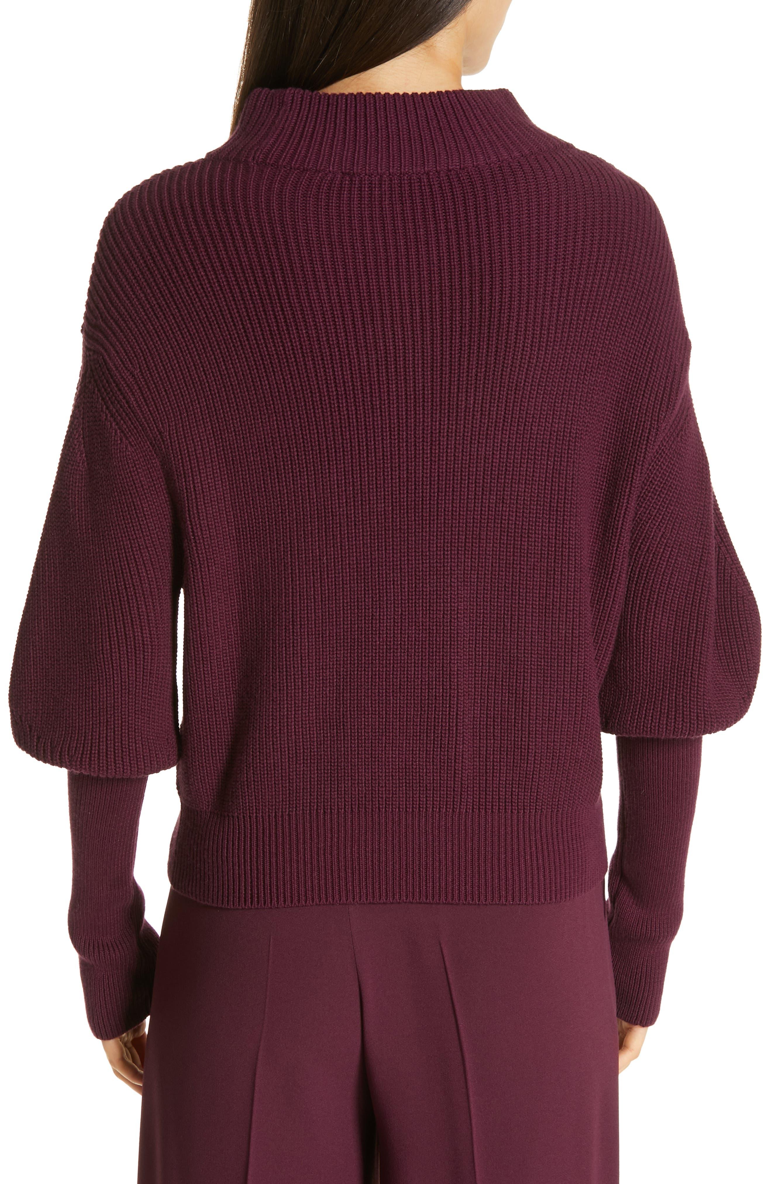 Flix Balloon Sleeve Sweater,                             Alternate thumbnail 2, color,                             DARK BERRY