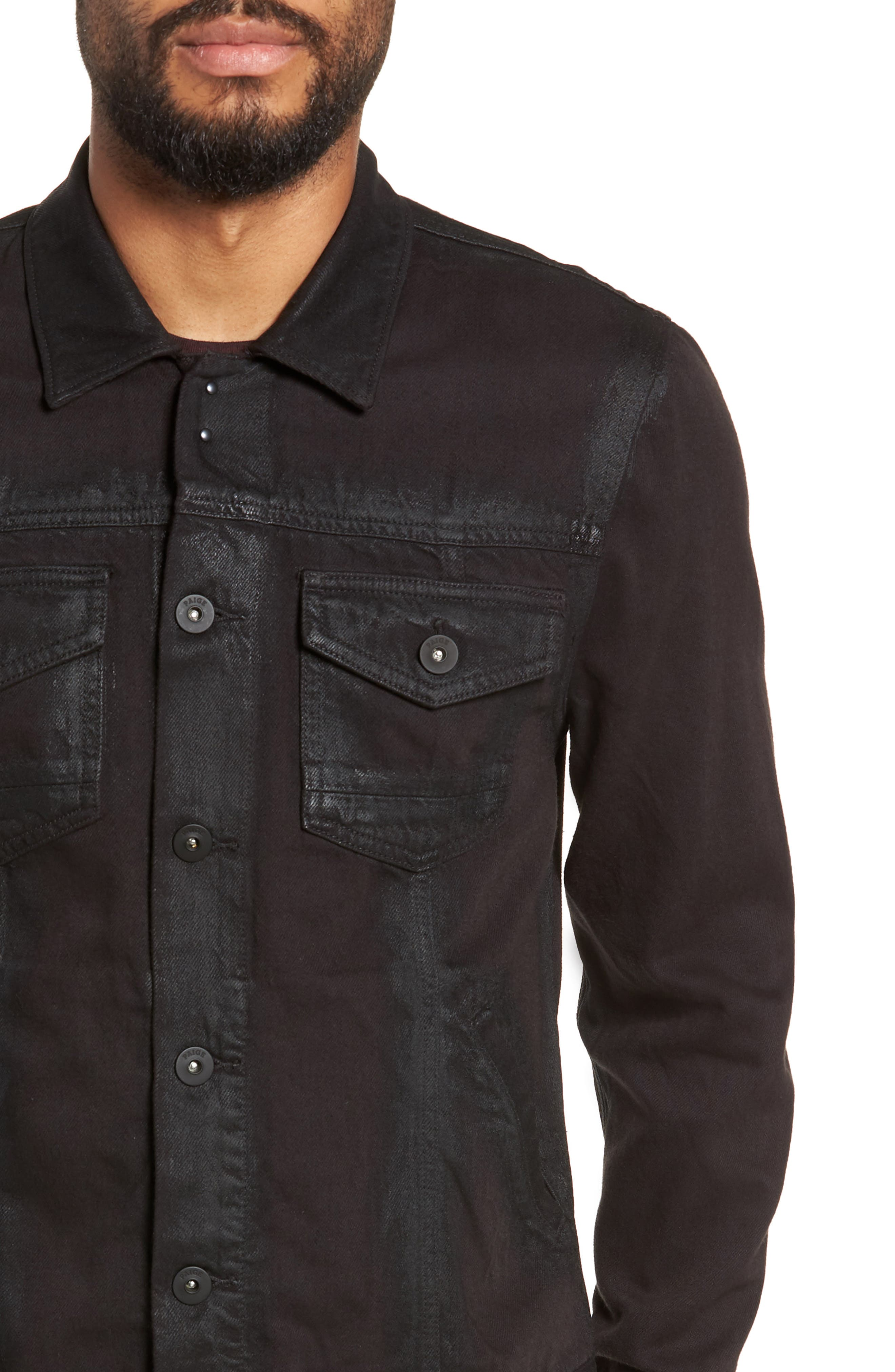 Scout Denim Jacket,                             Alternate thumbnail 4, color,                             VIVID BLACK COATED