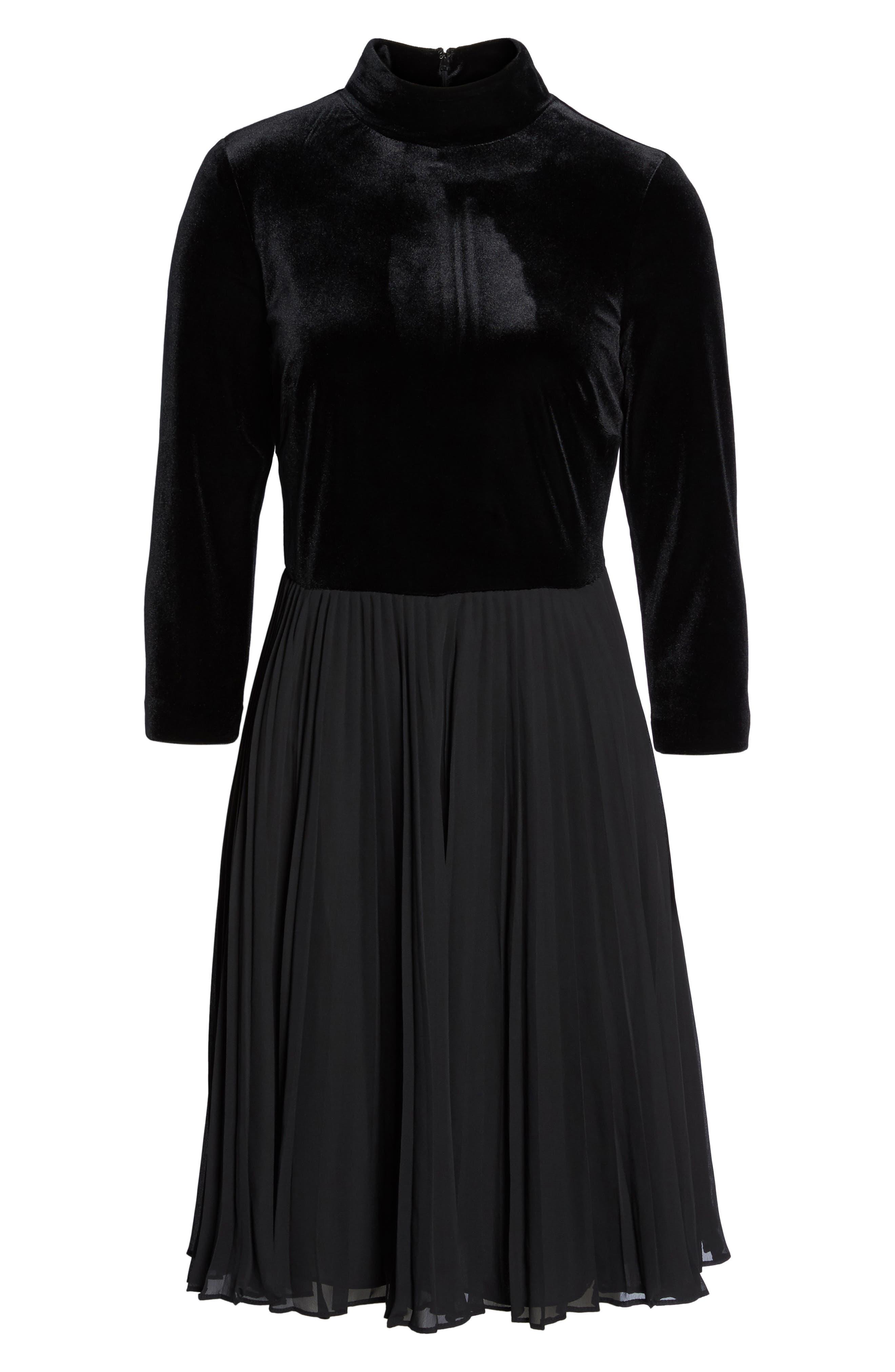Velvet Mock Neck Dress,                             Alternate thumbnail 6, color,                             002