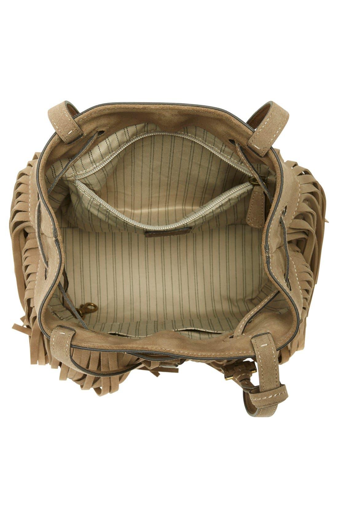 'Heidi' Fringe Suede Bucket Bag,                             Alternate thumbnail 6, color,                             020