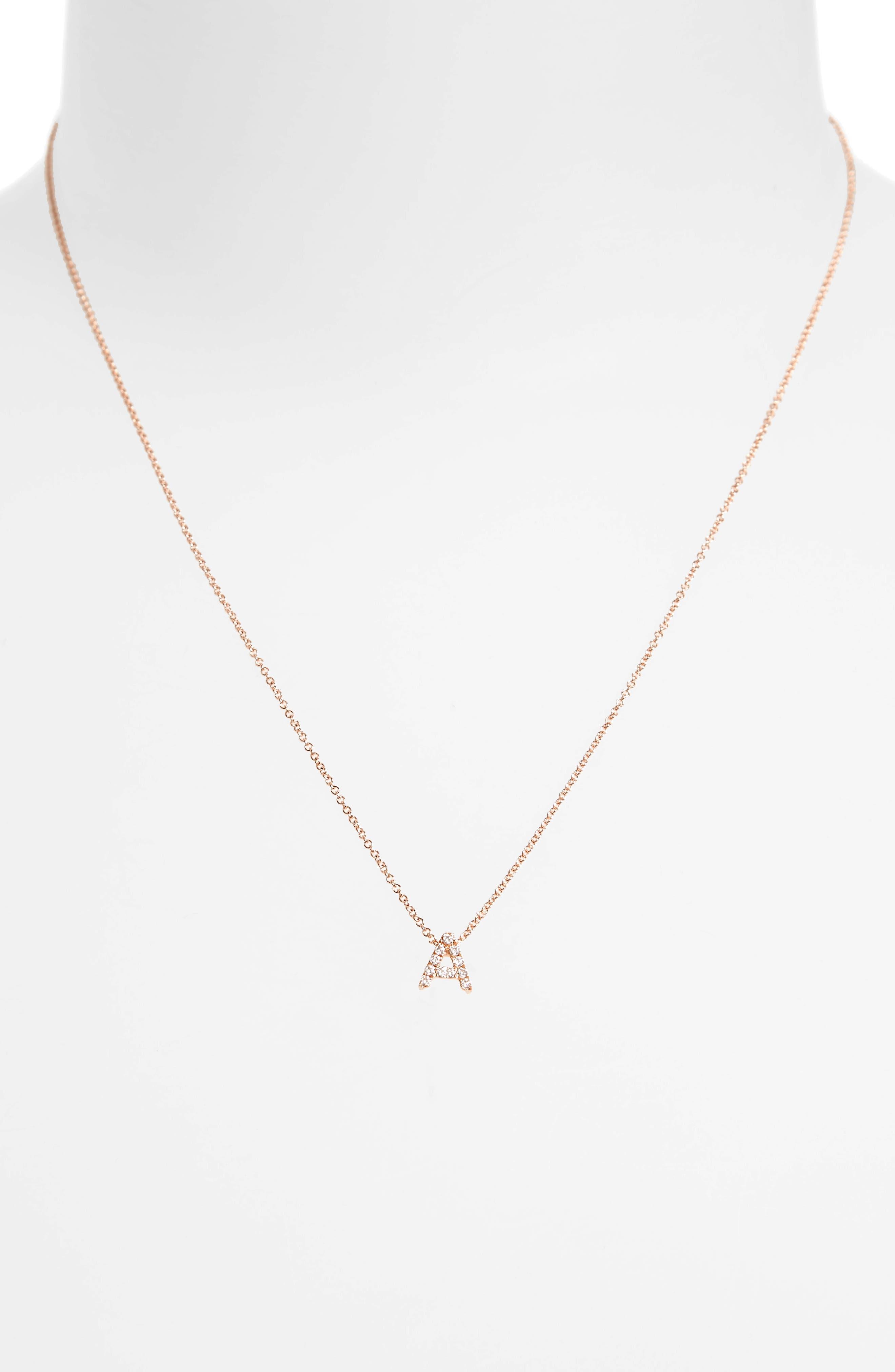 18k Gold Pavé Diamond Initial Pendant Necklace,                             Alternate thumbnail 3, color,                             ROSE GOLD - A