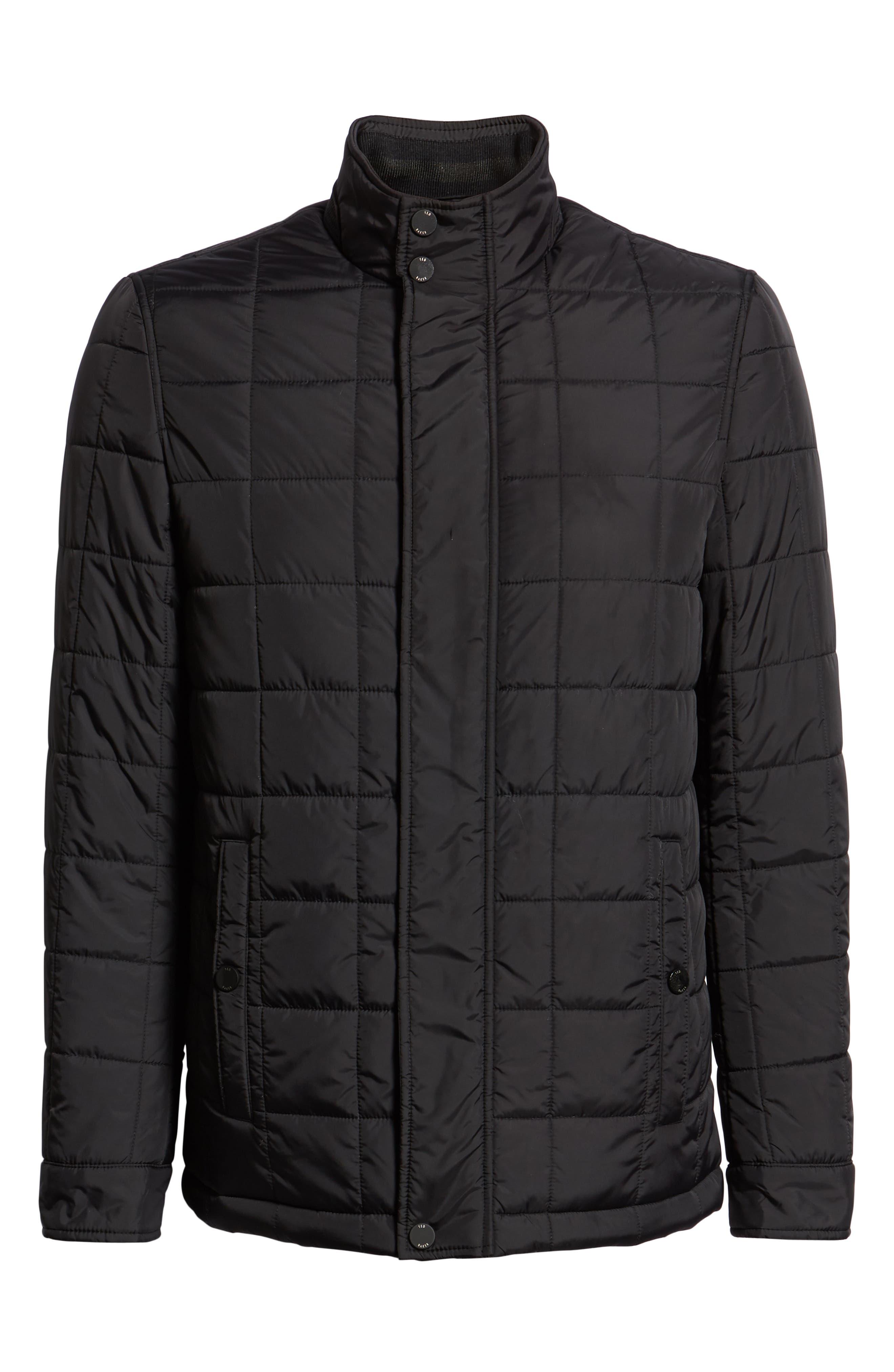 Lesta Quilted Slim Fit Jacket,                             Alternate thumbnail 6, color,                             BLACK