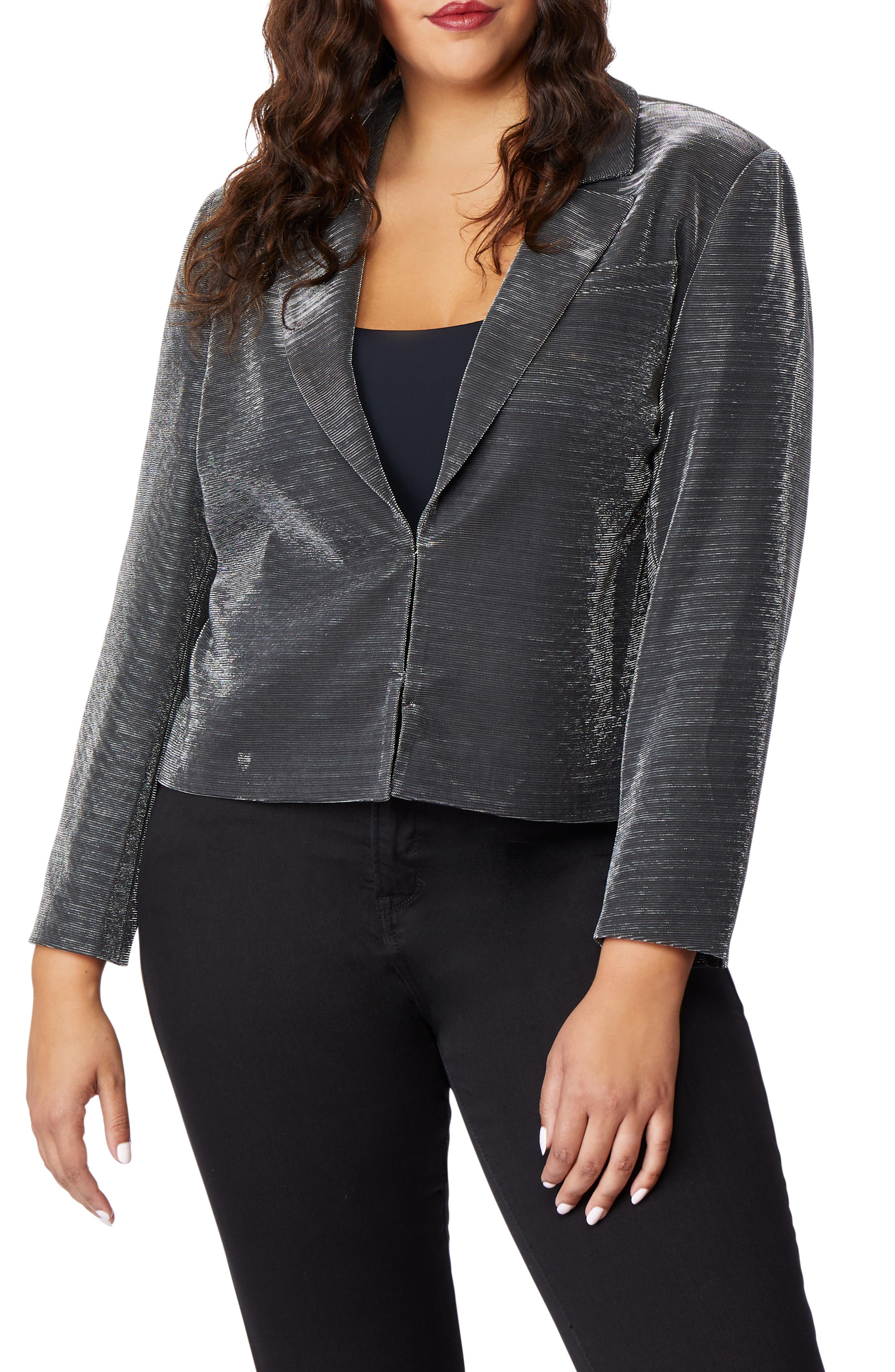 Crop Tux Jacket,                             Main thumbnail 1, color,                             GUNMETAL