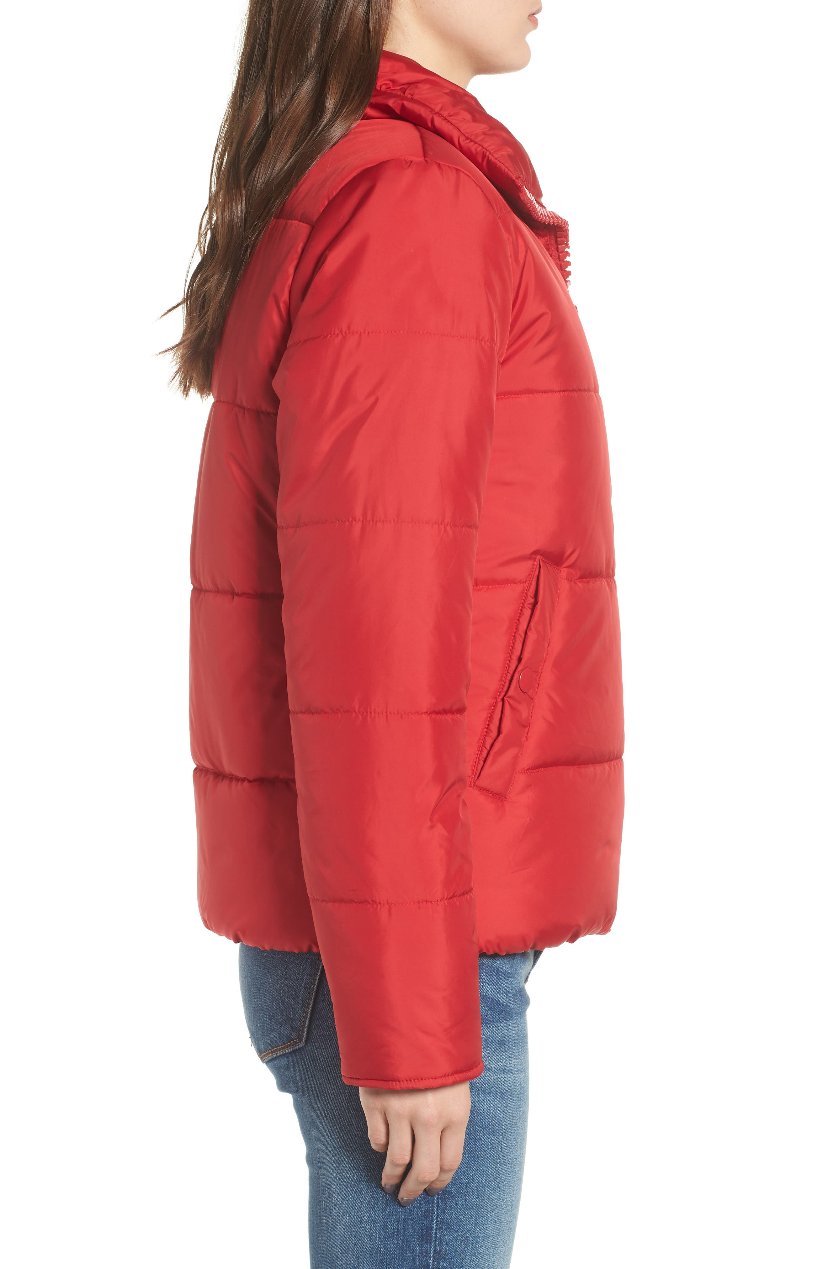 Rail Quilted Puffer Jacket,                             Alternate thumbnail 3, color,                             SPICE RED