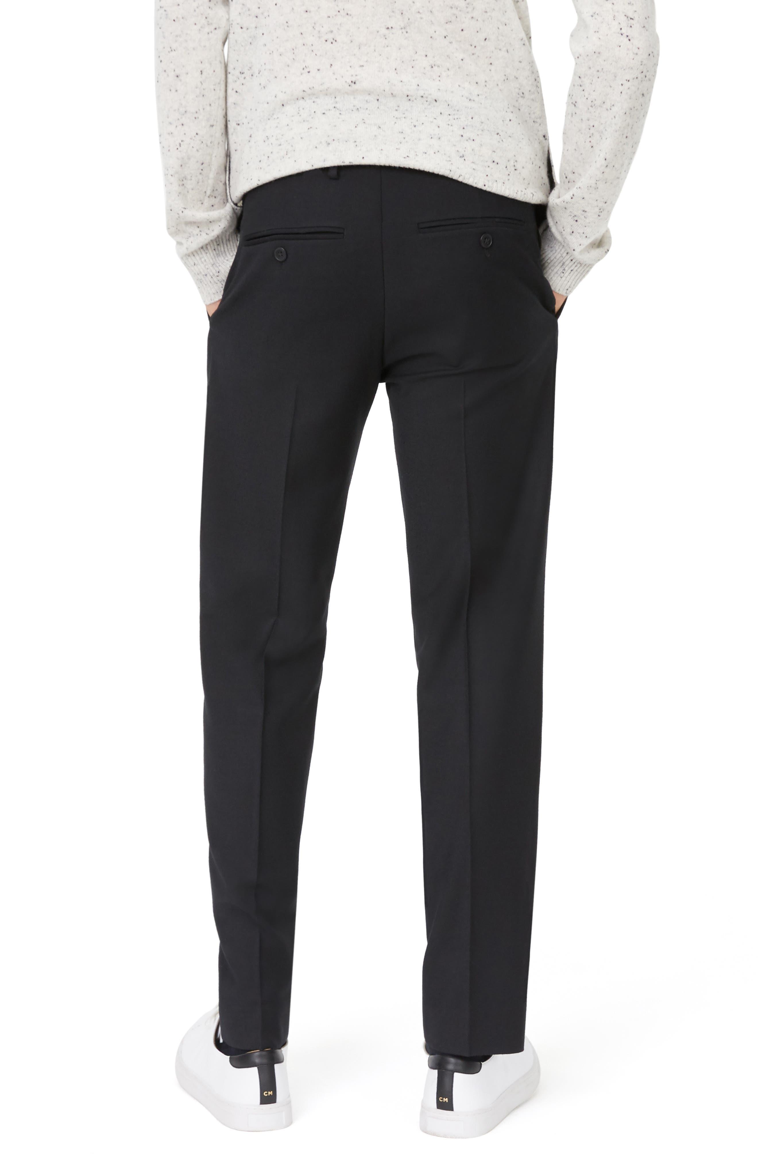 Sutton Trim Fit Stretch Wool Blend Pants,                             Alternate thumbnail 2, color,                             BLACK