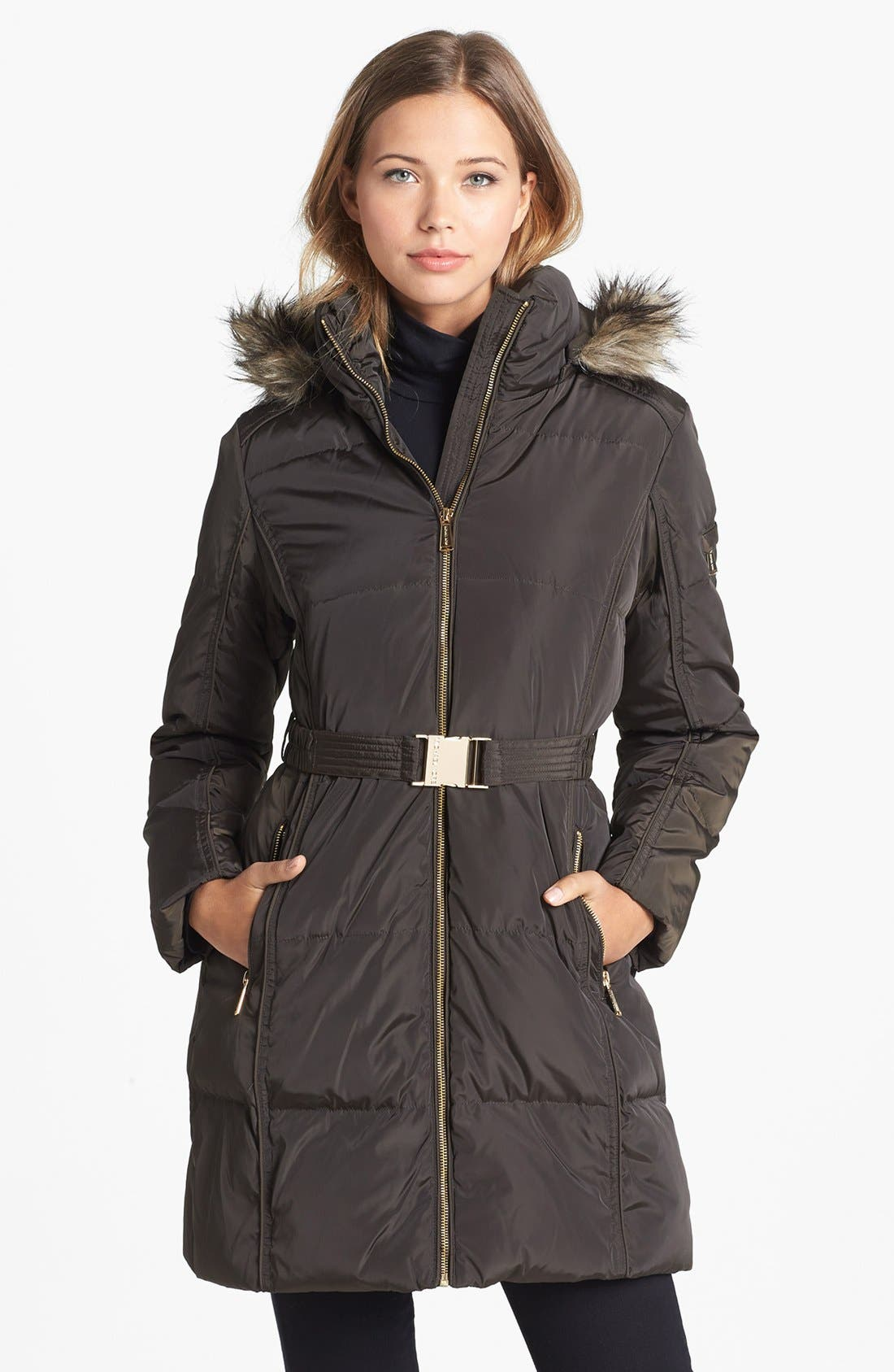 MICHAEL MICHAEL KORS Faux Fur Trim Quilted Coat, Main, color, 233