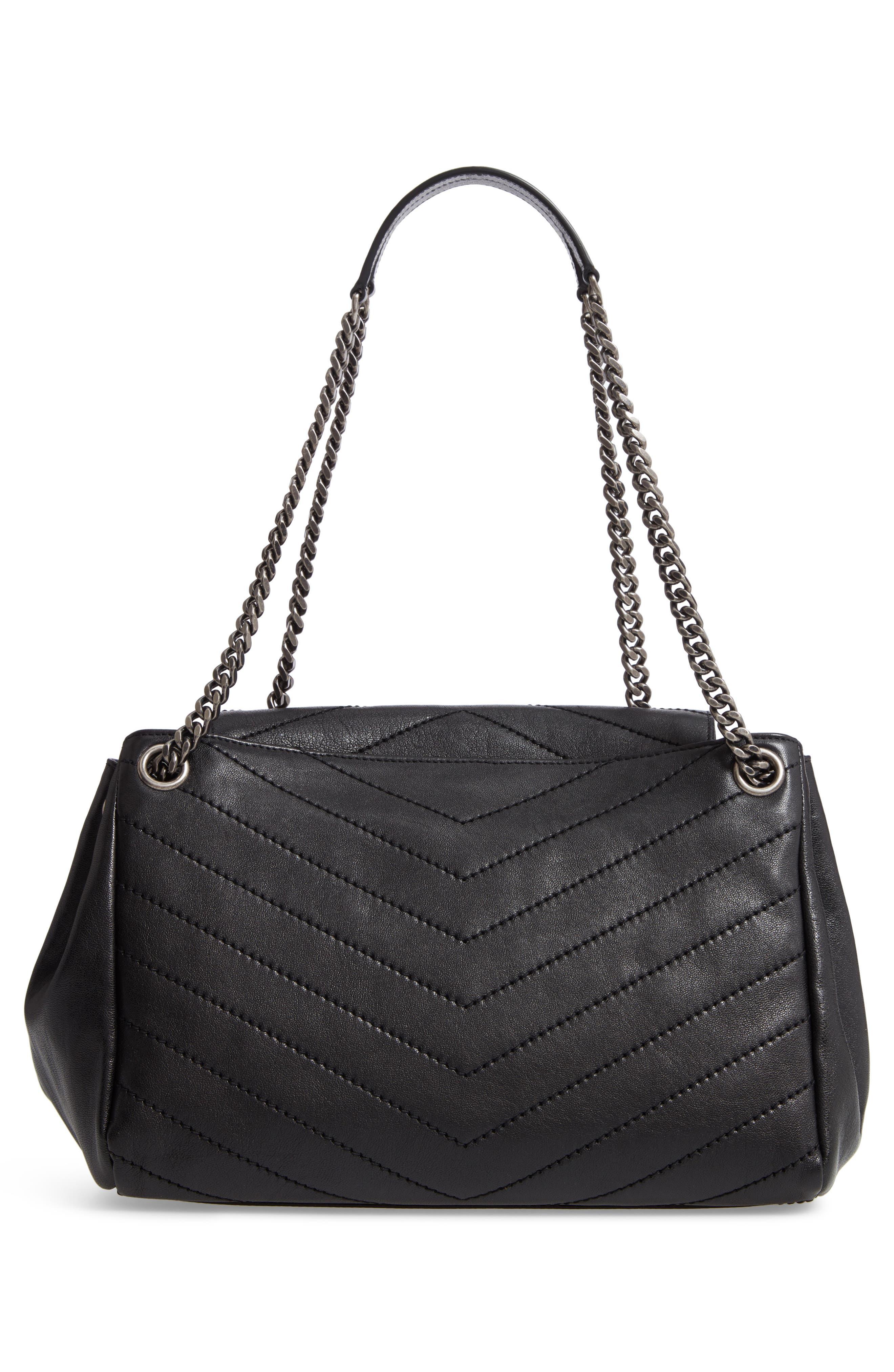 Nolita Large Leather Shoulder Bag,                             Alternate thumbnail 3, color,                             NOIR