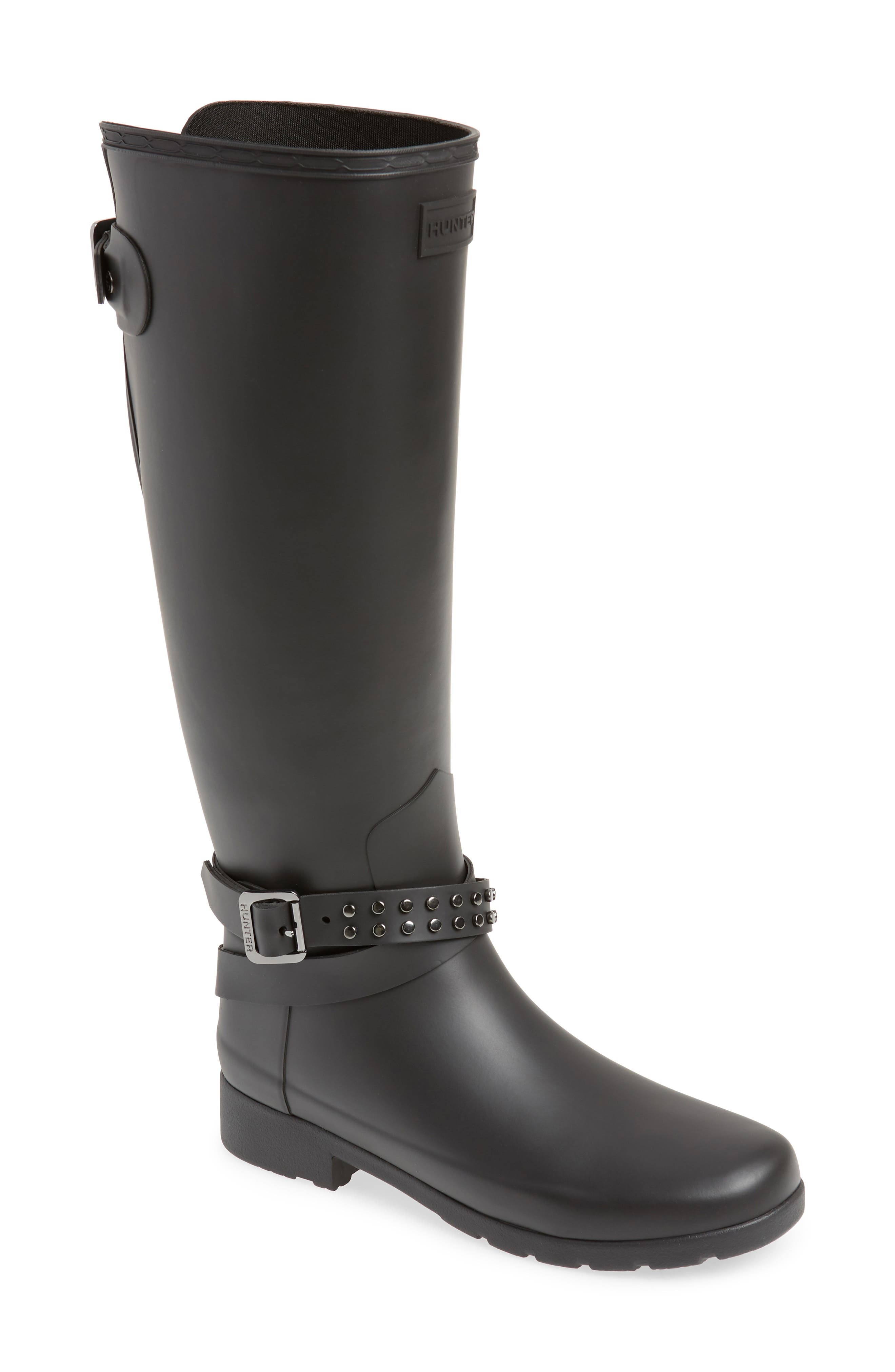Refined Adjustable Back Knee High Waterproof Rain Boot,                             Main thumbnail 1, color,                             BLACK