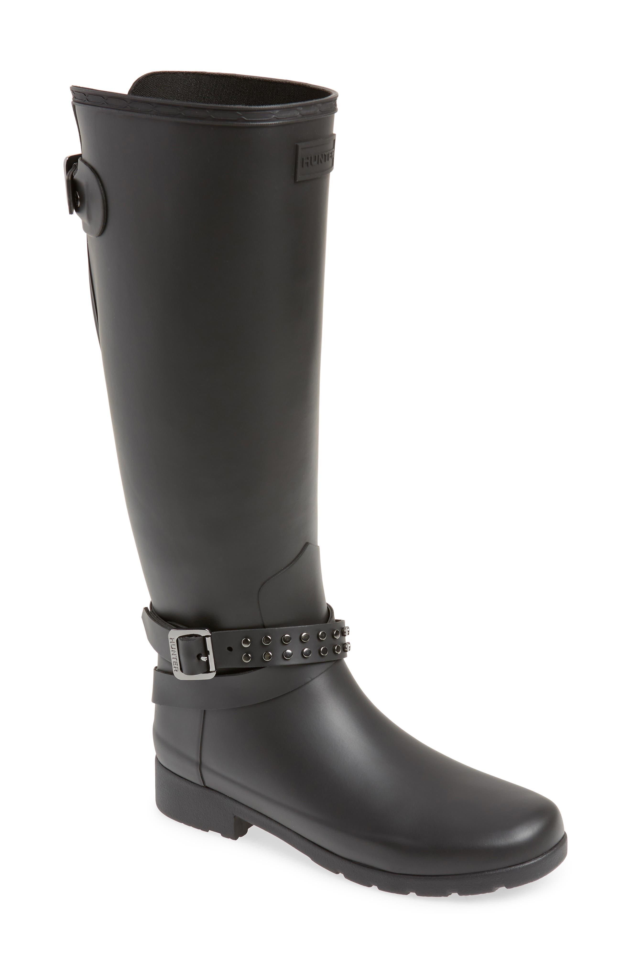 Refined Adjustable Back Knee High Waterproof Rain Boot, Main, color, BLACK