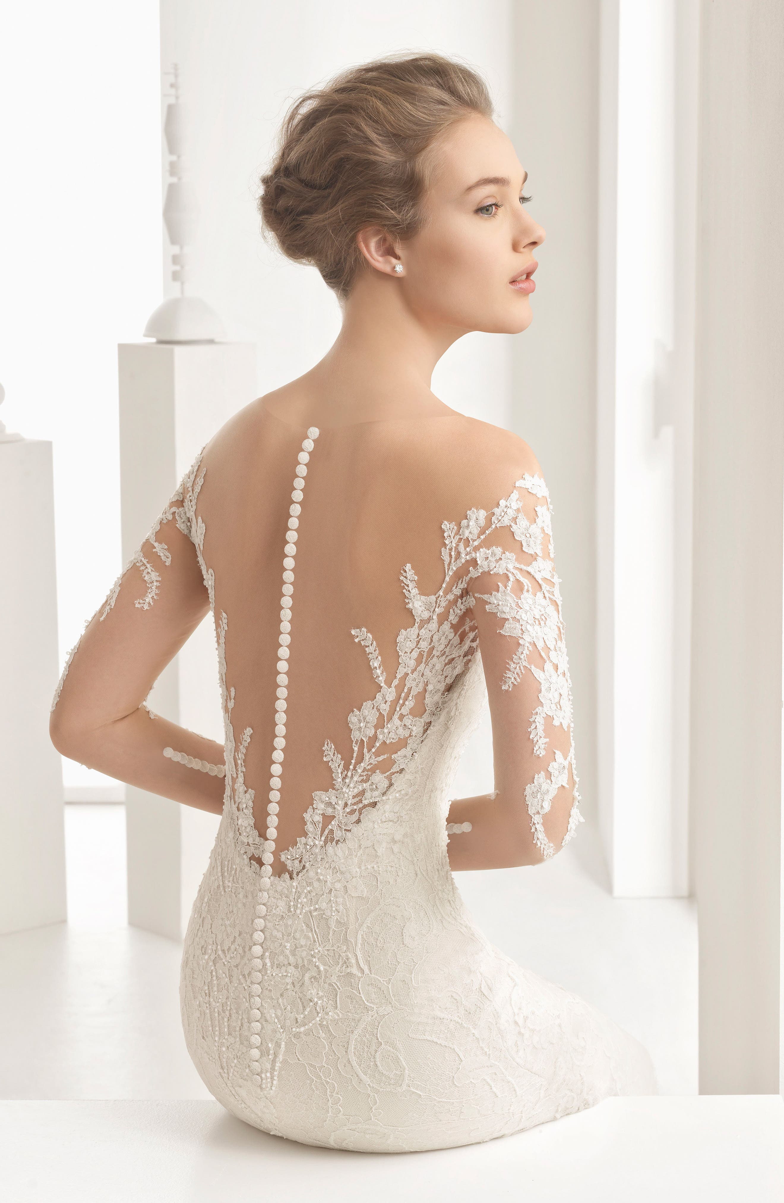 Naim Strapless Illusion Lace Mermaid Gown,                             Alternate thumbnail 3, color,                             900