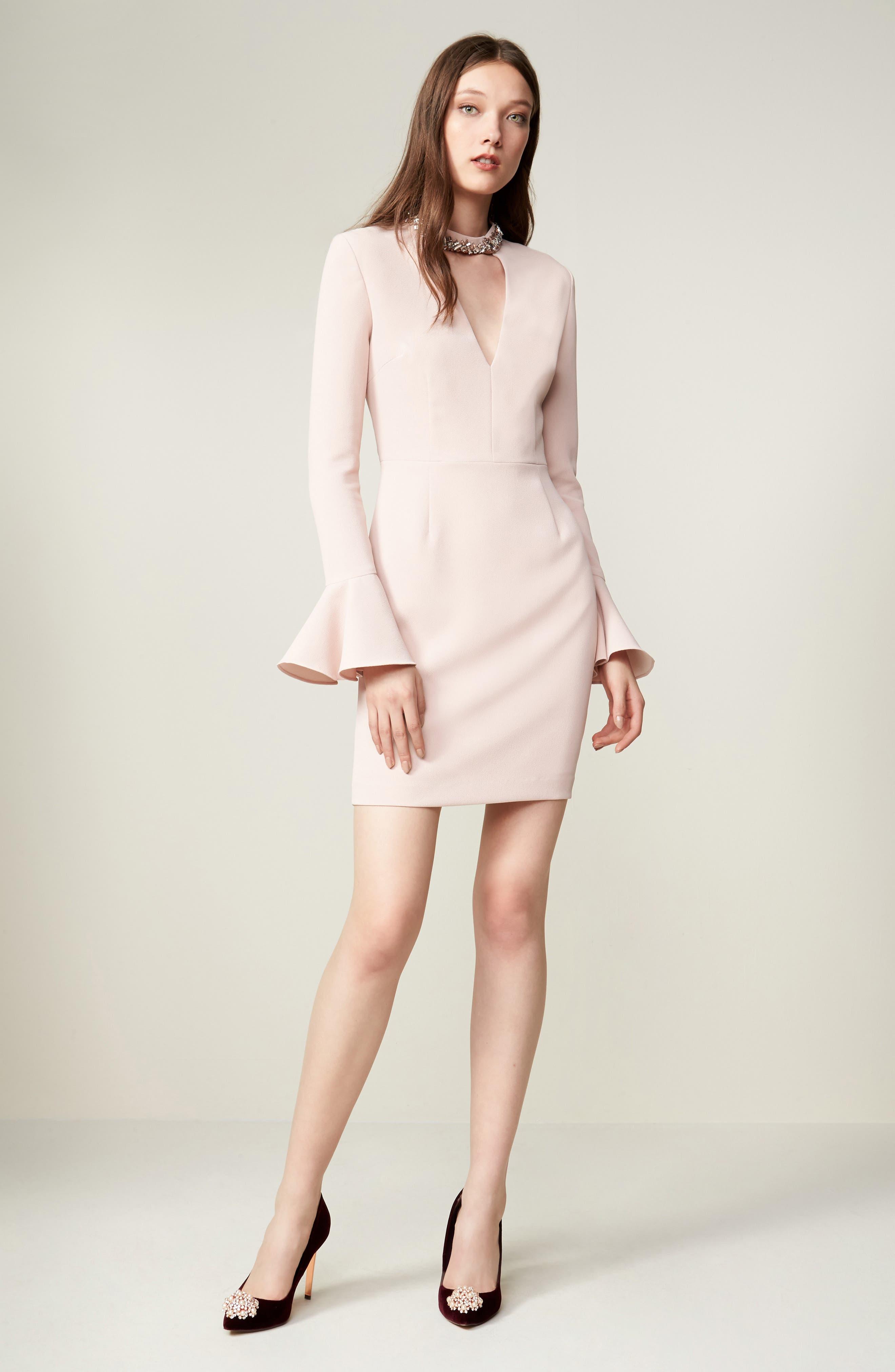 Crystal Choker Bell Sleeve Sheath Dress,                             Alternate thumbnail 13, color,