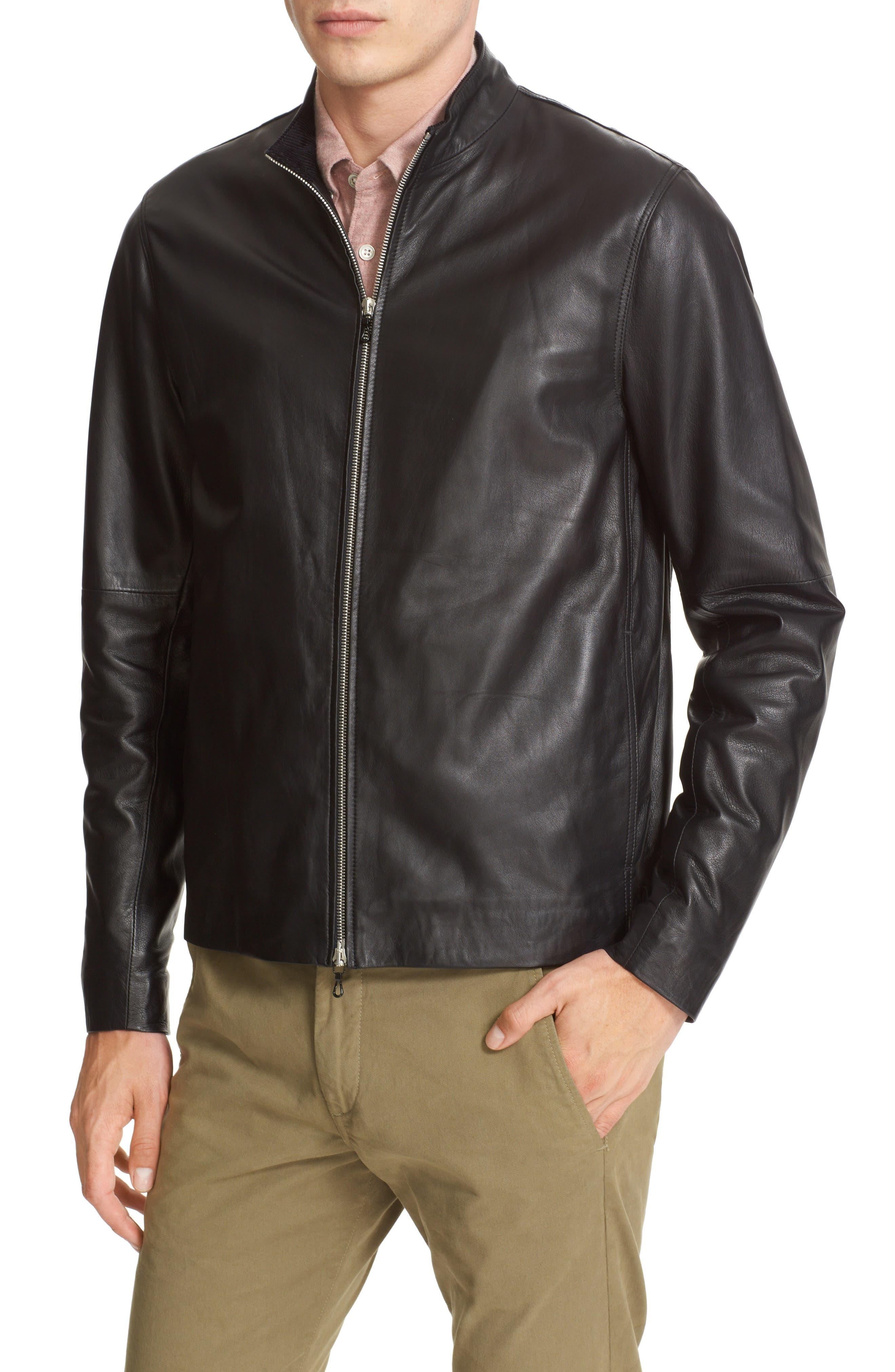 Agnes Lambskin Leather Jacket,                             Alternate thumbnail 4, color,                             BLACK