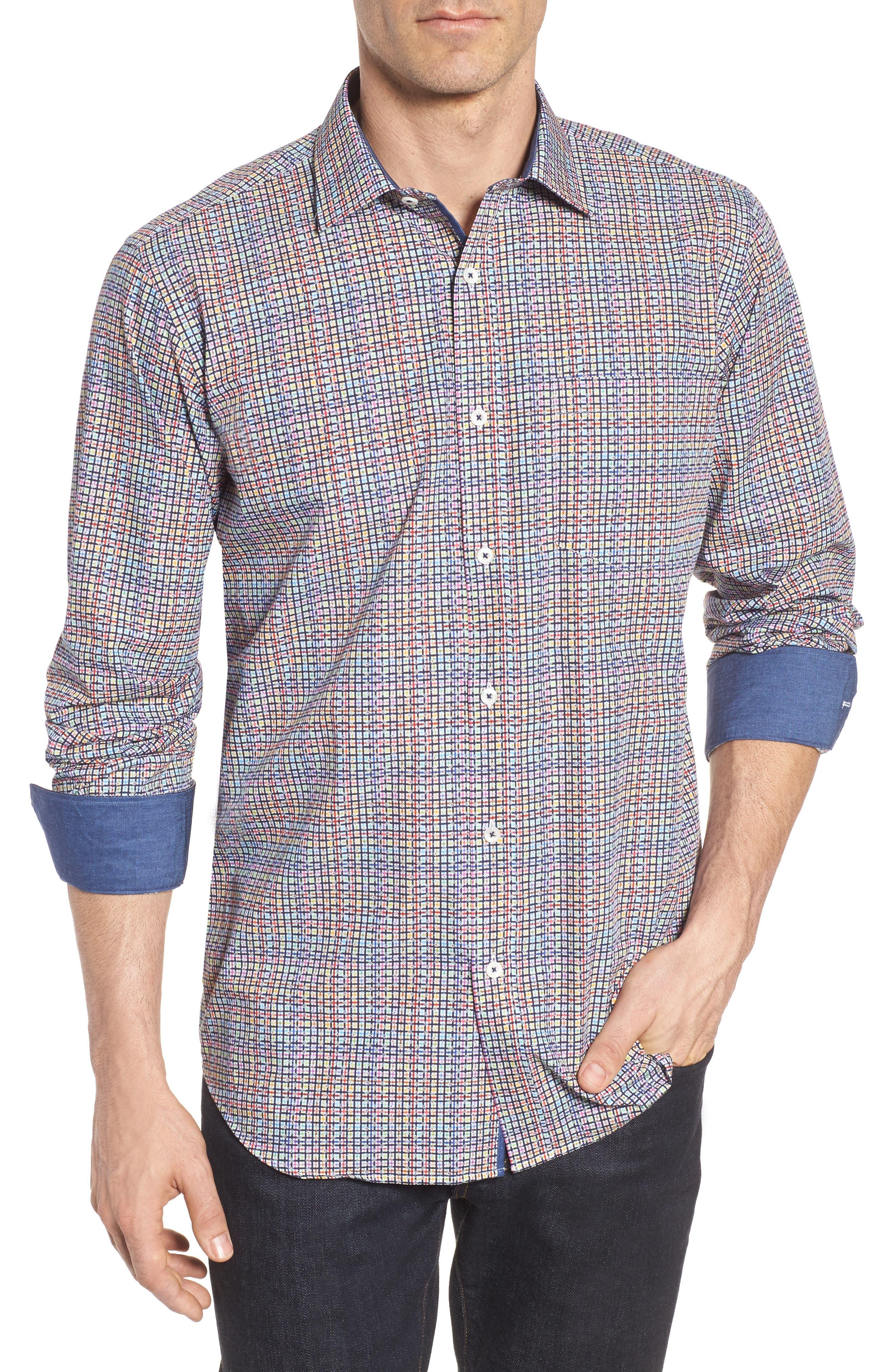 Classic Fit Plaid Sport Shirt,                         Main,                         color, 601