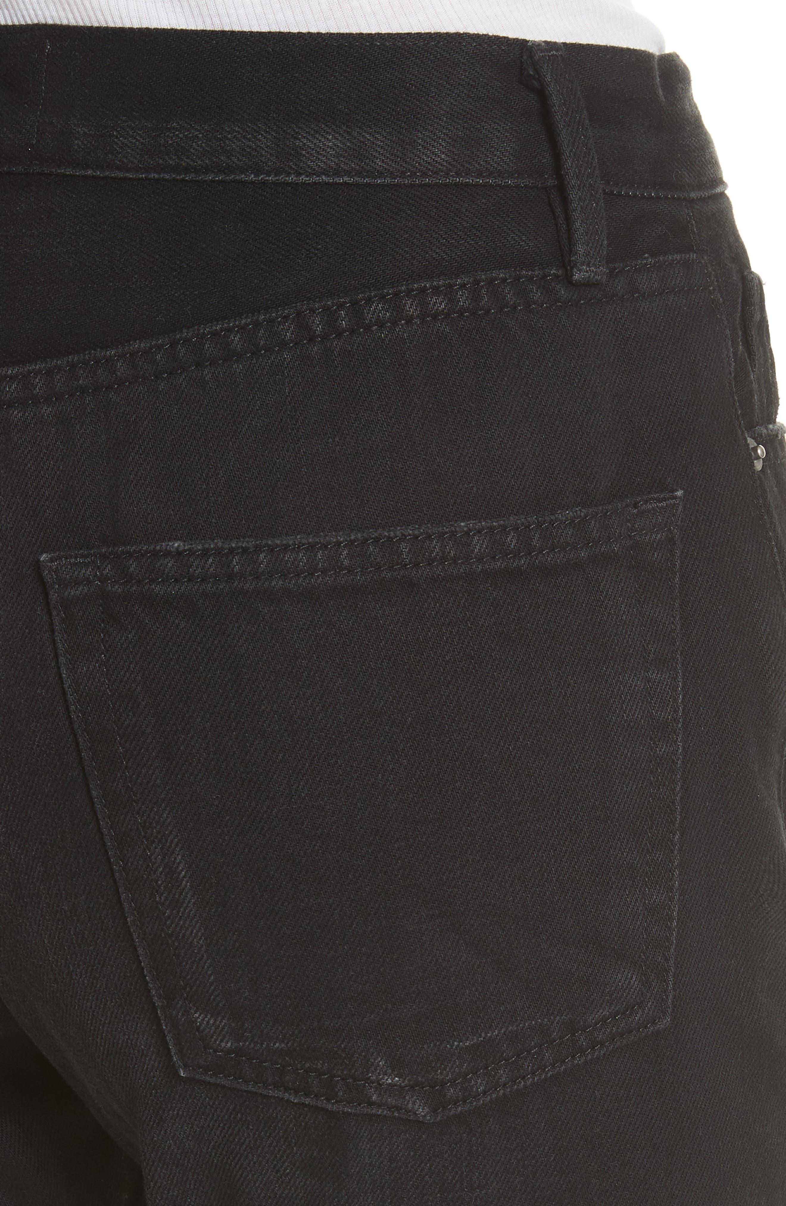 Le Original Released Hem High Waist Jeans,                             Alternate thumbnail 4, color,                             001