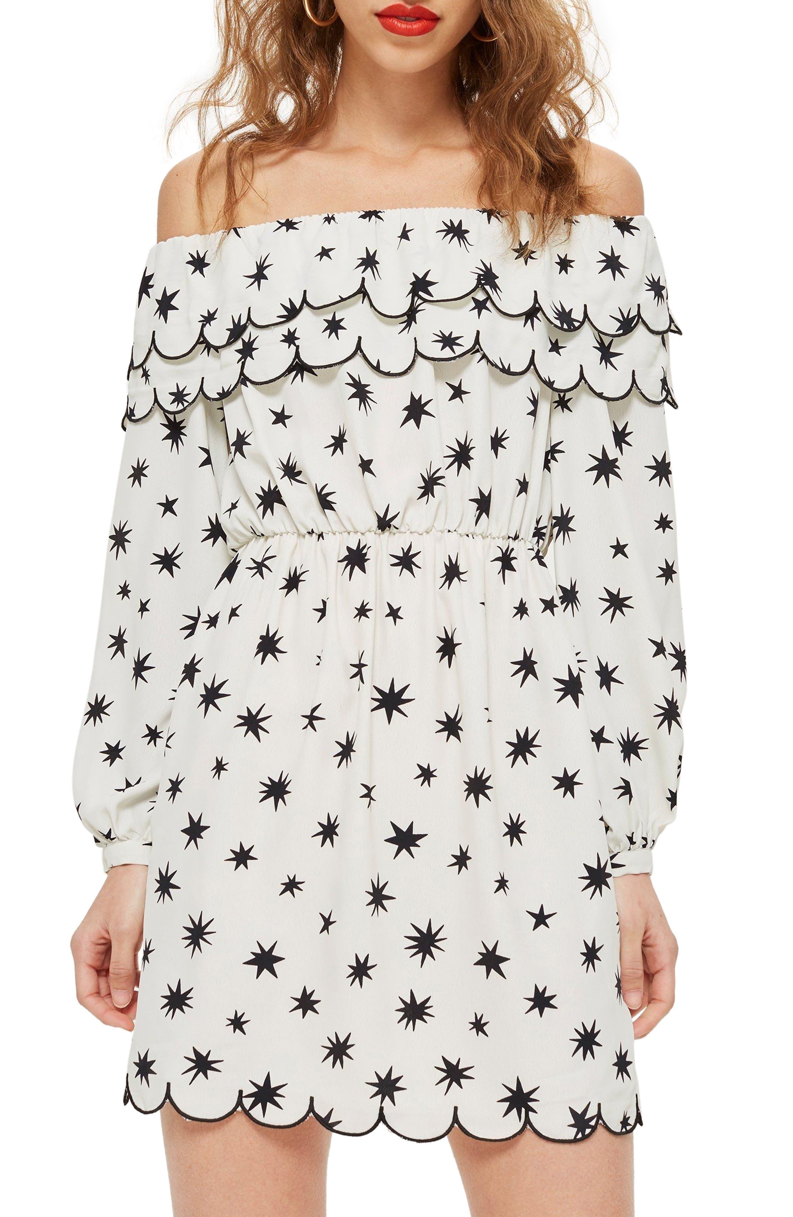 Scallop Star Off the Shoulder Dress,                         Main,                         color, 100