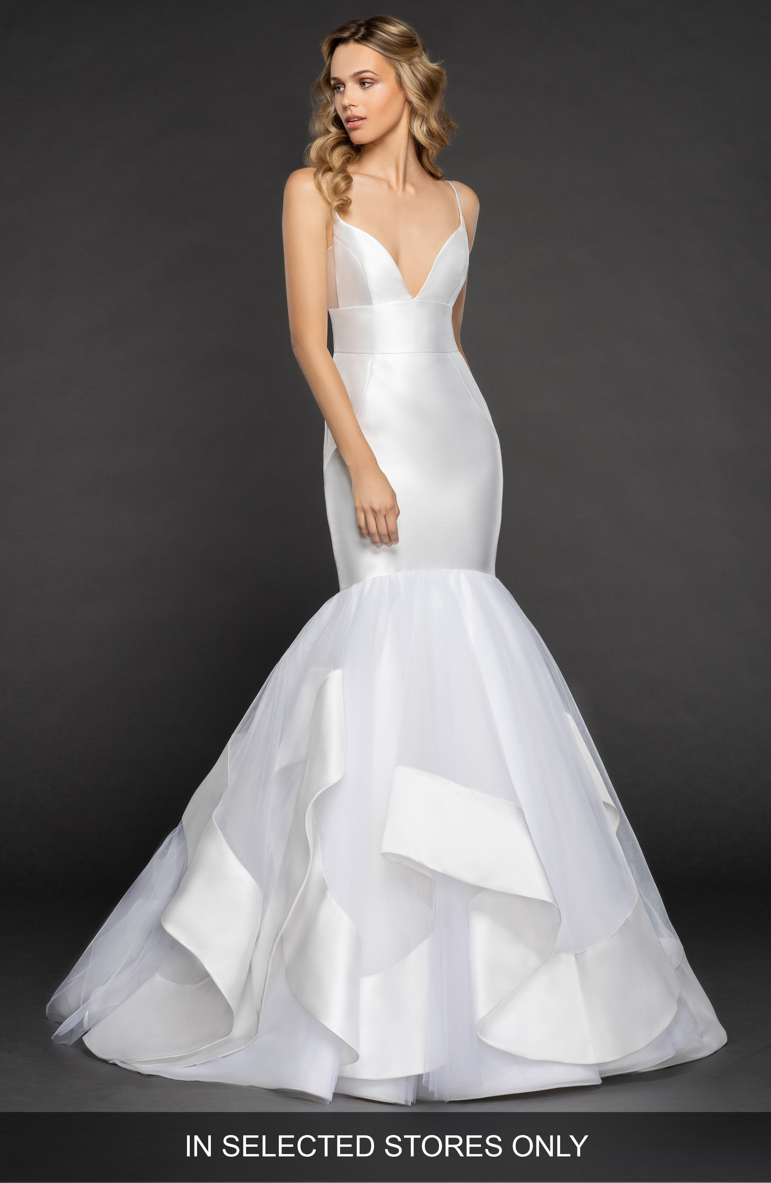 Nevada Mikado & Tulle Mermaid Gown,                         Main,                         color, IVORY