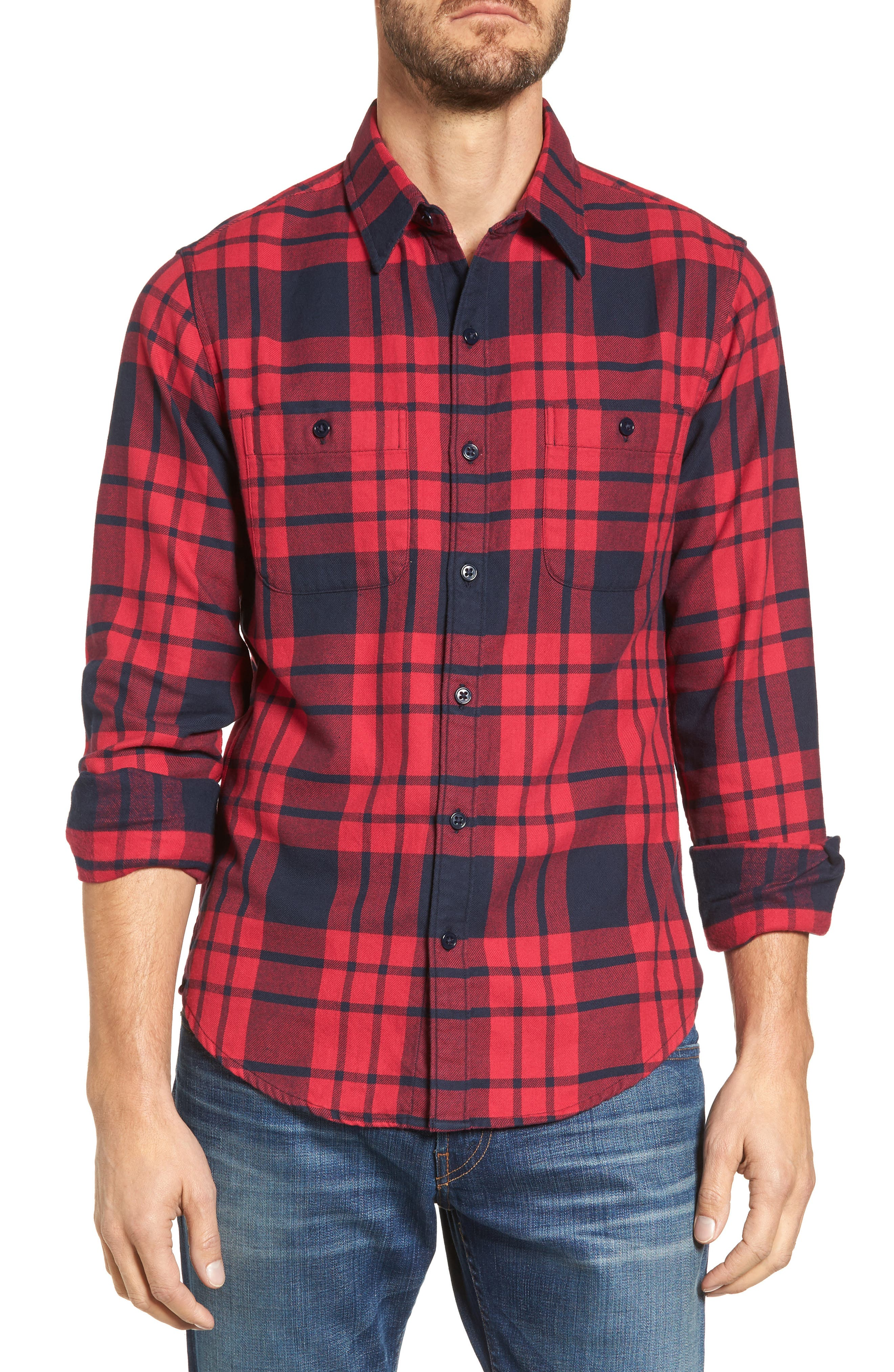 Slim Fit Plaid Flannel Shirt,                             Main thumbnail 1, color,