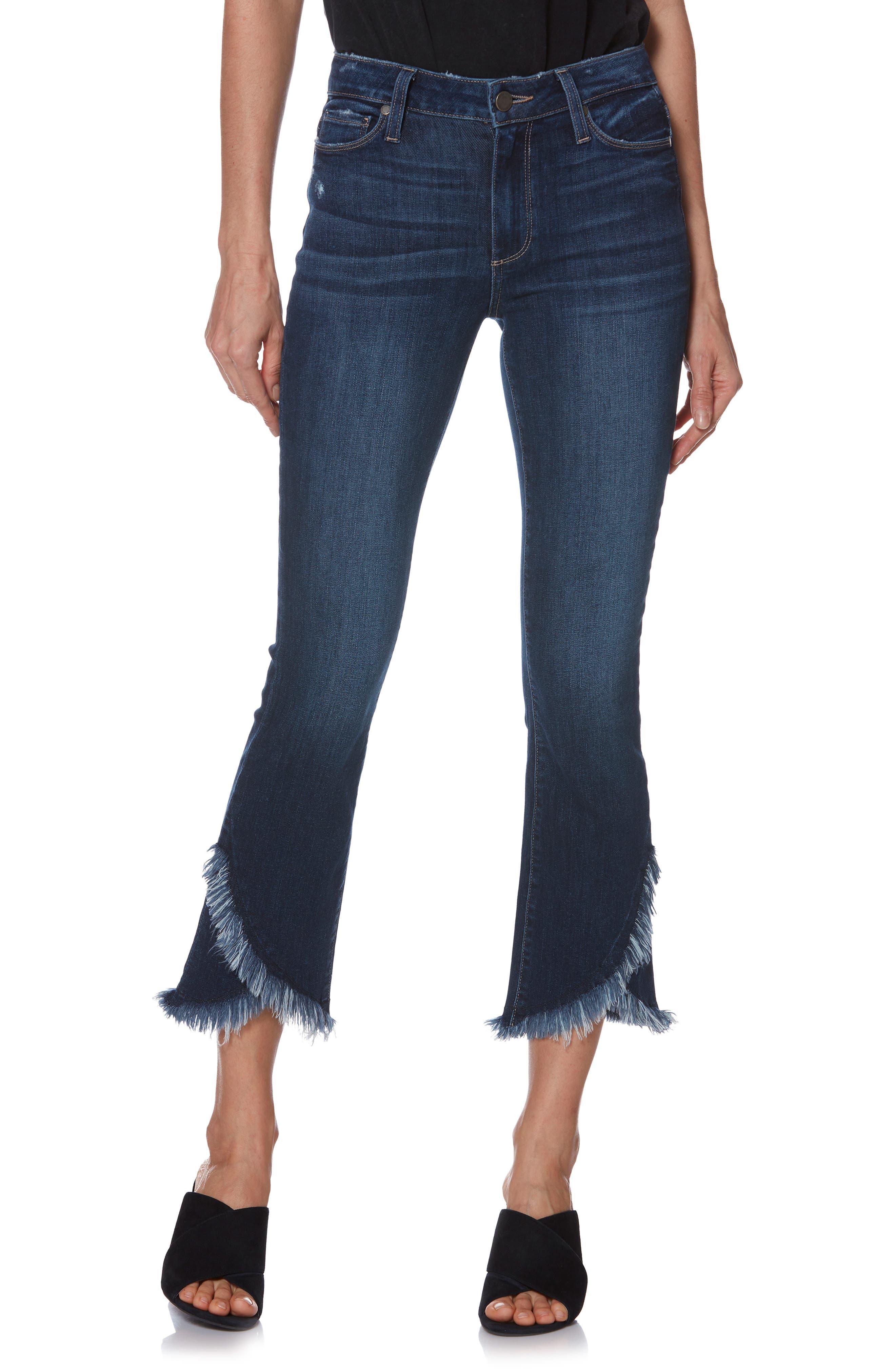 PAIGE Transcend Vintage - Colette Frayed Crop Flare Jeans, Main, color, PALMA