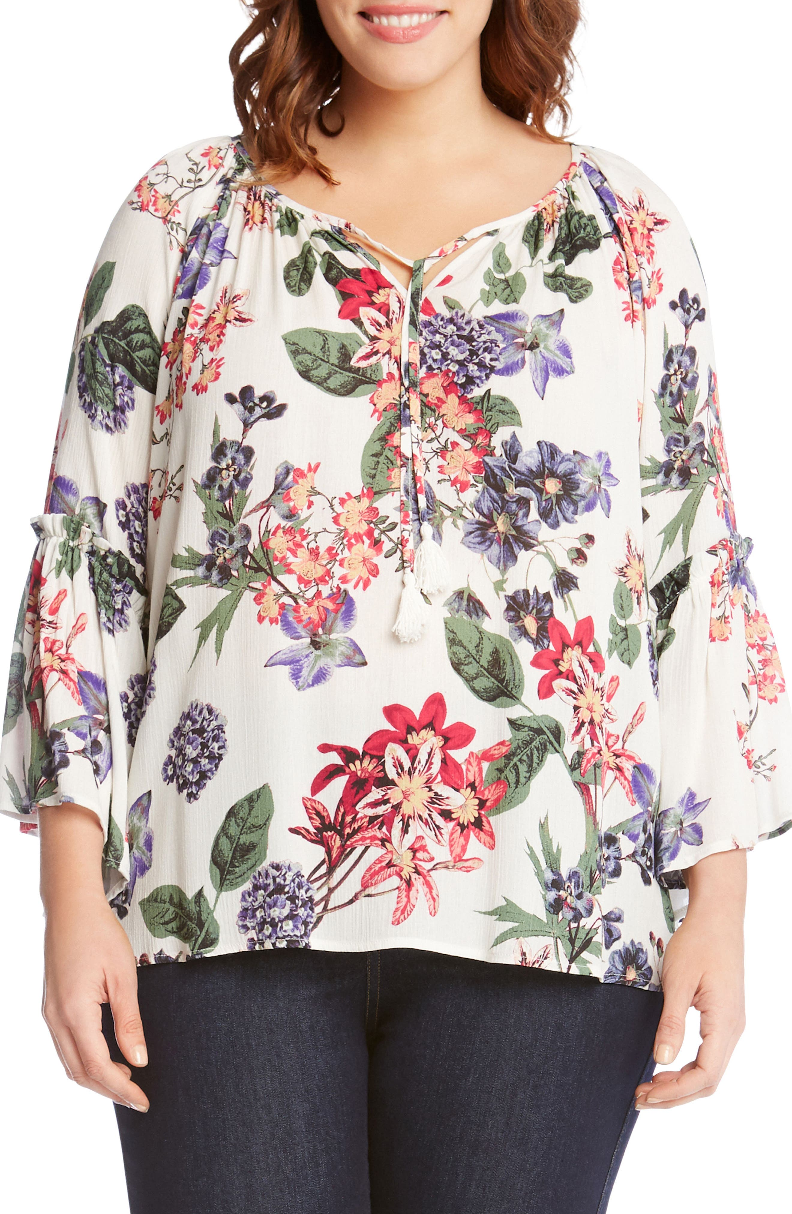 Ruffle Sleeve Floral Top,                         Main,                         color, PRINT